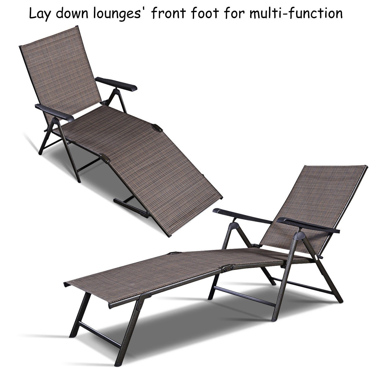 Pool Chaise Lounge Chairs Costway Pool Chaise Lounge Chair Recliner Outdoor Patio Furniture Adjustable