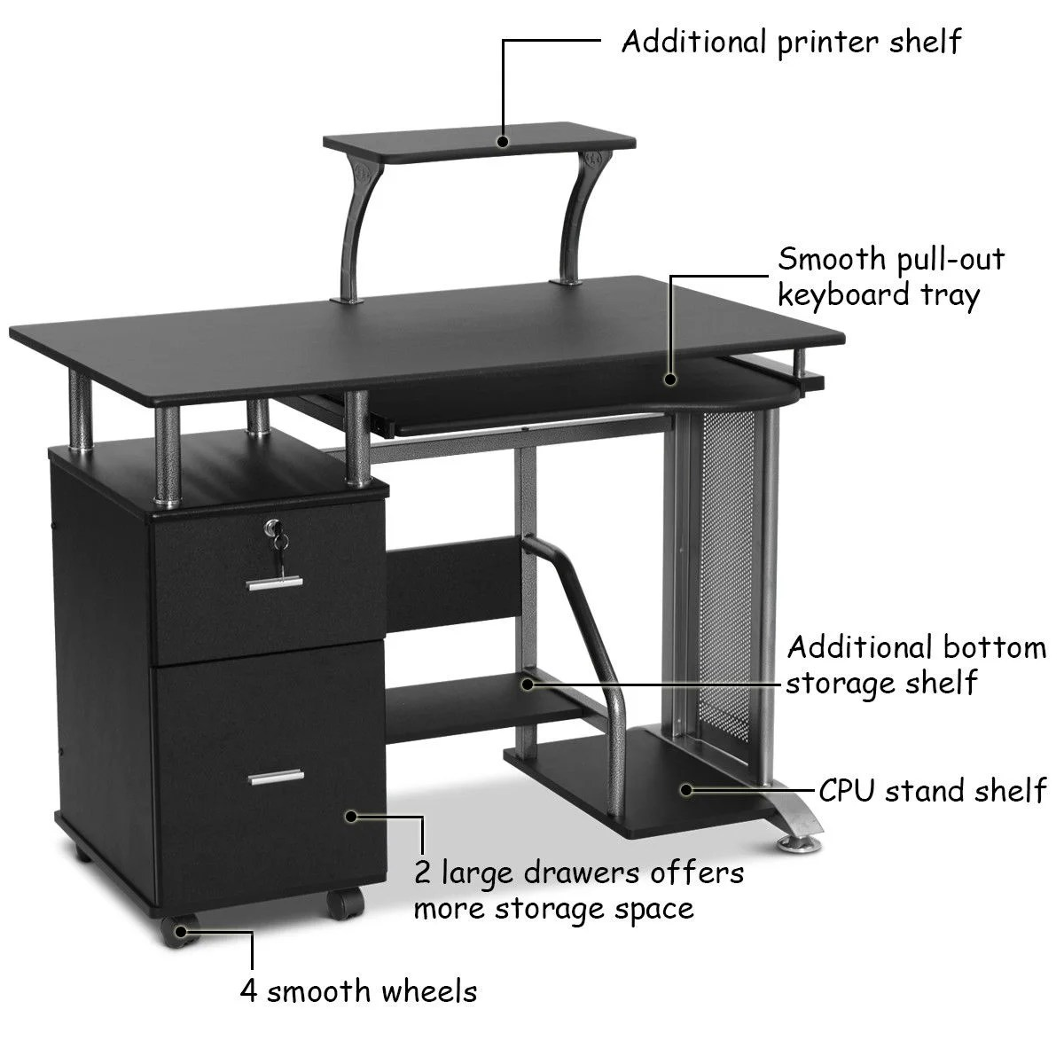 Workstation Furniture Costway Computer Desk Pc Laptop Table Workstation Home Office Furniture W Printer Shelf Black
