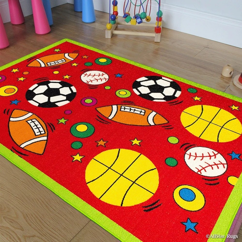 Rugs For Kids Allstar Rugs Kids Baby Room Area Rug Sports Football Basketball Soccer And Baseball Bright Colors 4 11