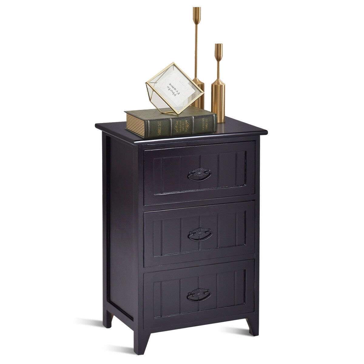 Black End Tables With Drawer Gymax 3 Drawers Nightstand End Table Storage Wood Side Bedside Black