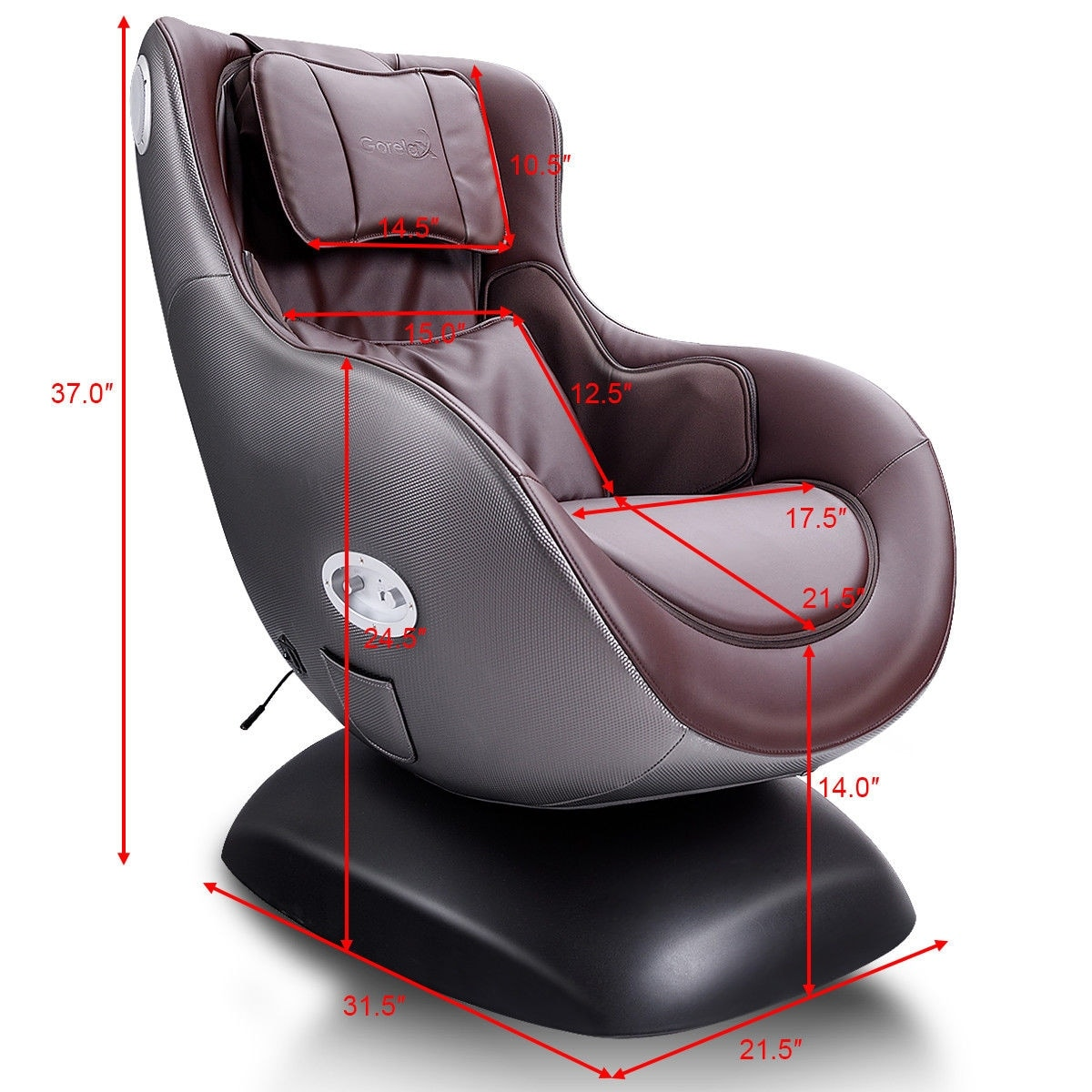 Massage Chair Cover Costway Brown Leisure Curve Heated Massage Chair Wireless Bluetooth Speaker Usb Charger