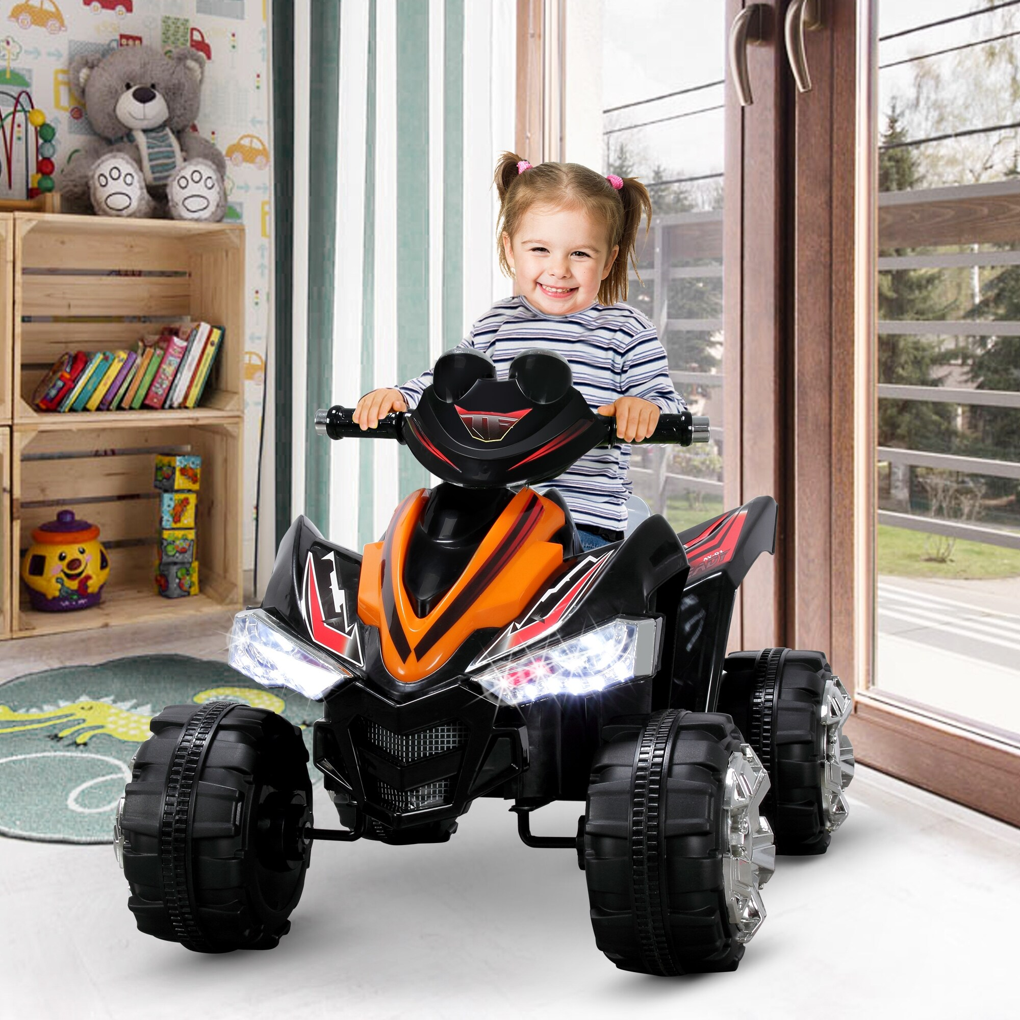 12v Led Quad Kidzone 12v Battery Powered Ride On Atv Quad Electric Led Headlights Toy Car For Kids 3 6 Years Old Orange