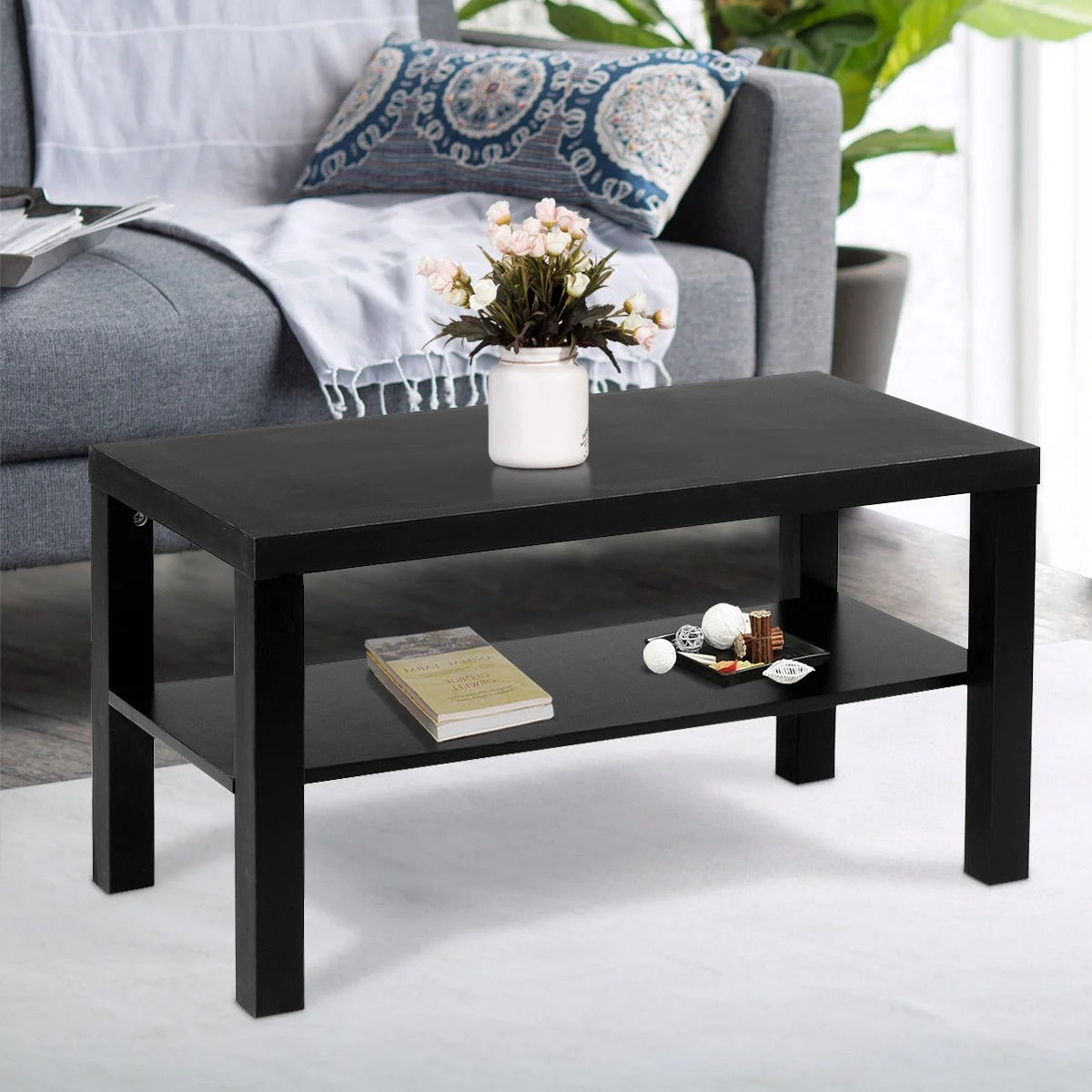 Coffee And End Tables With Storage Costway Coffee End Table Rectangle Modern Living Room Furniture W Storage Shelf Black