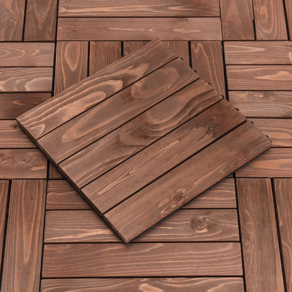 Interlocking Deck Tiles Costway 11pcs Deck Tiles Fir Wood Patio Pavers Interlocking Decking Flooring 12x12