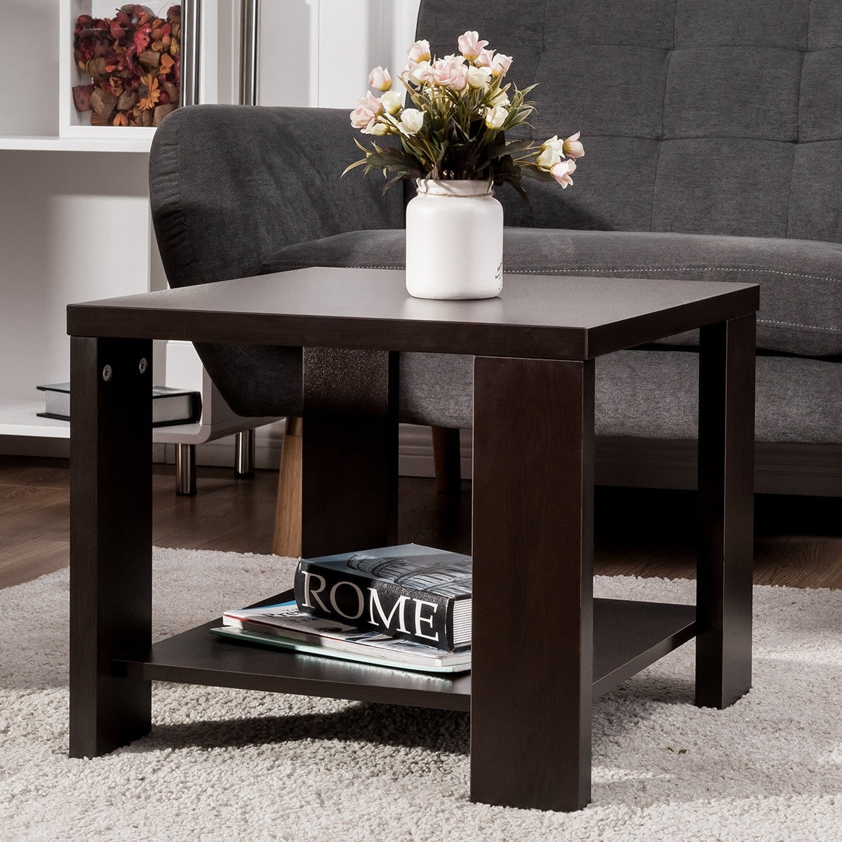 Coffee And End Tables With Storage Costway End Table Square Coffee Tea Sofa Side Living Room Furniture With Storage Shelf As Pic