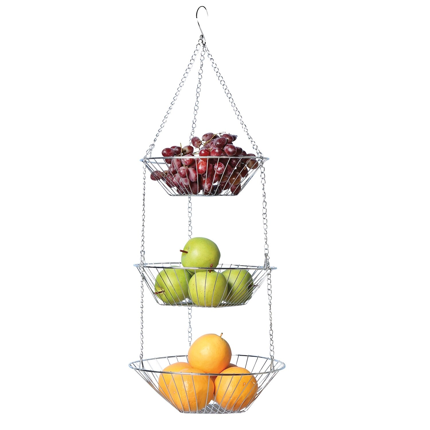 Wire Fruit Bowls Home District 3 Tier Chrome Hanging Fruit Basket Adjustable Graduated Wire Food Storage Bowls Metal