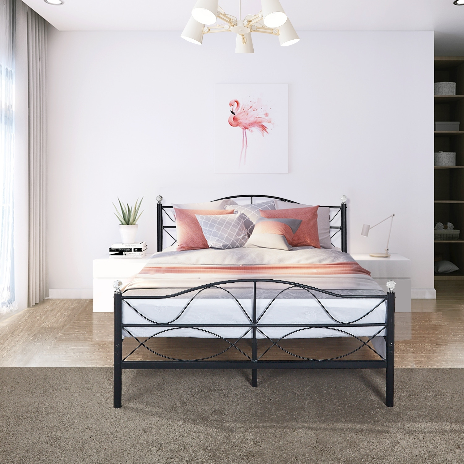 Metal Bed Headboards Vecelo Metal Bed Frames Mattress Fundation With Headboard And Footboard