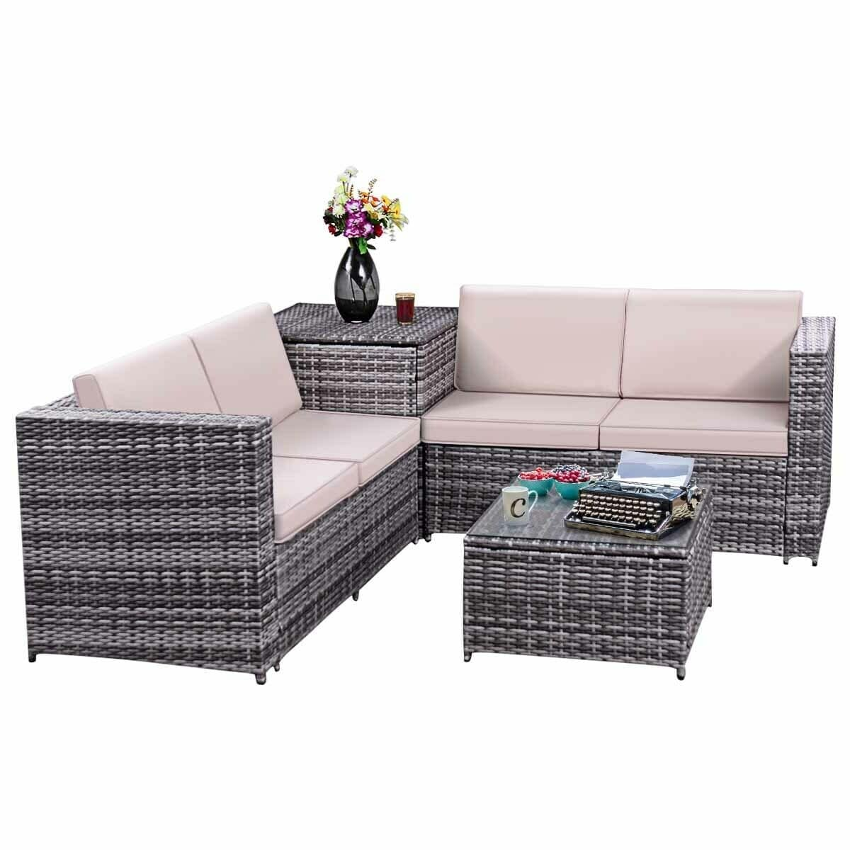 Best Choice Products 5pc Rattan Wicker Sofa Set Instructions Costway 4pcs Patio Rattan Wicker Furniture Set Sofa Loveseat Cushioned W Storage Box As Pic