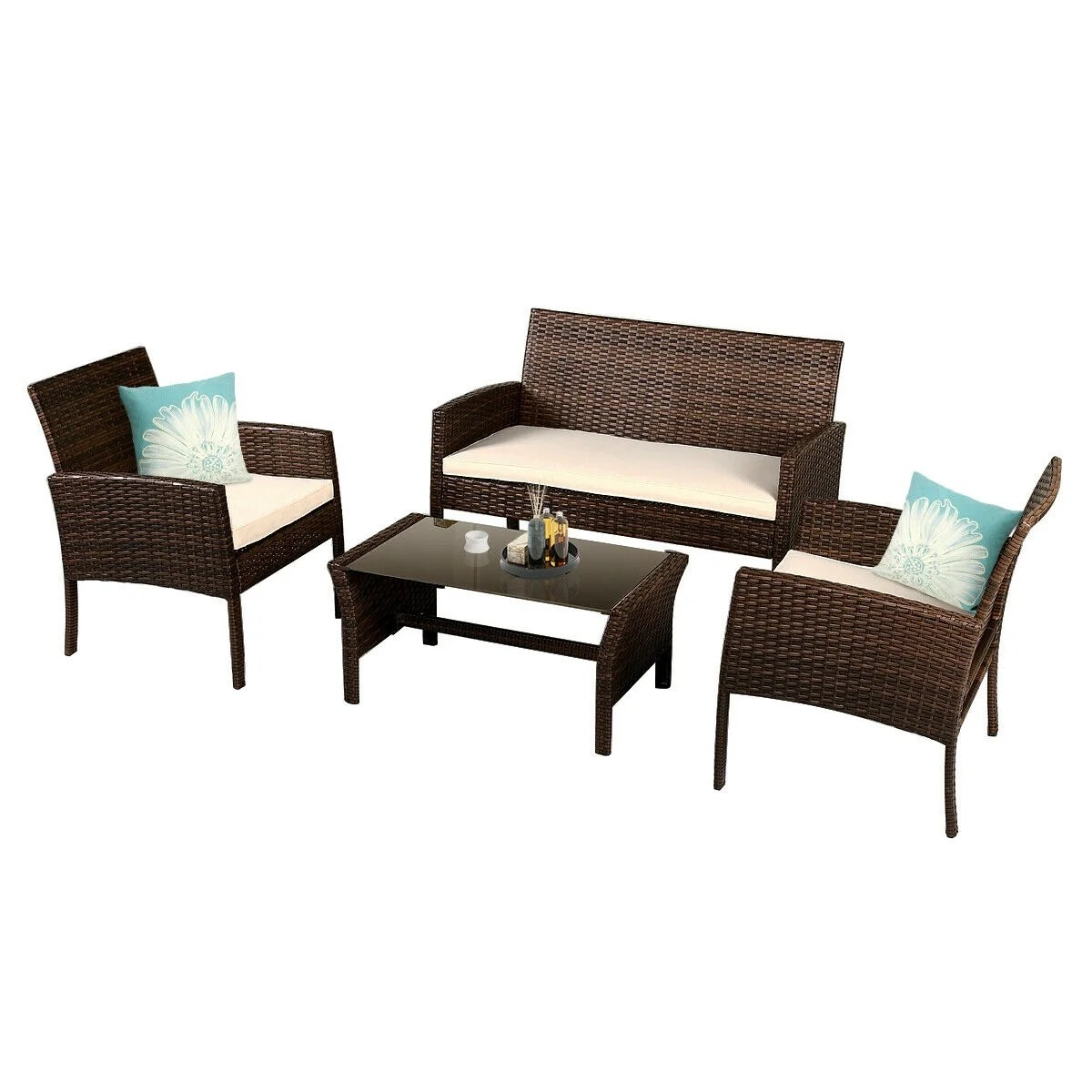 Sofa Rattan Costway 4 Pieces Patio Furniture Wicker Rattan Sofa Set Garden Coffee Table As Pic