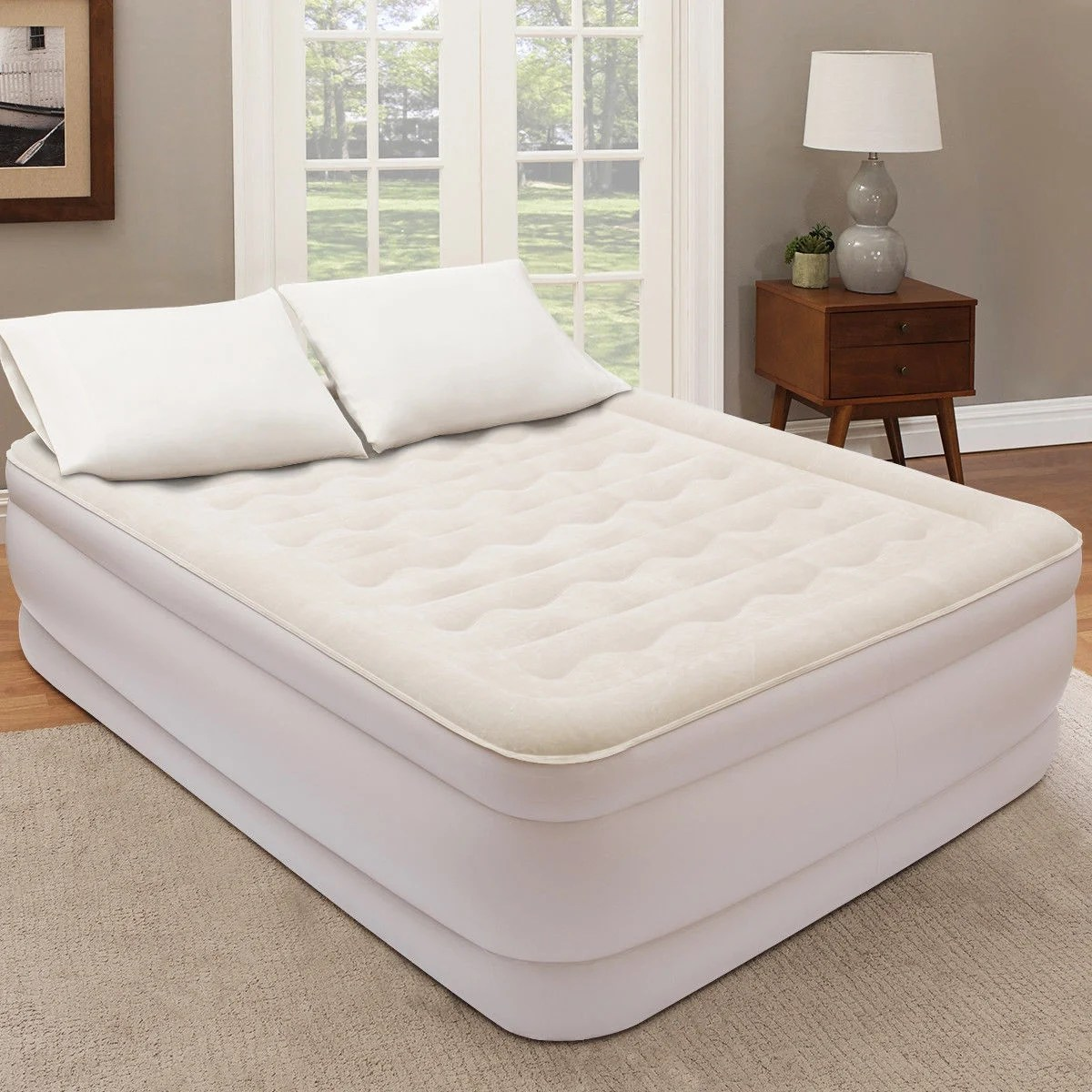 Air Mattress Frame Queen Costway Queen Size Luxury Quilt Top Raised Air Mattress Elevated Airbed Built In Pump