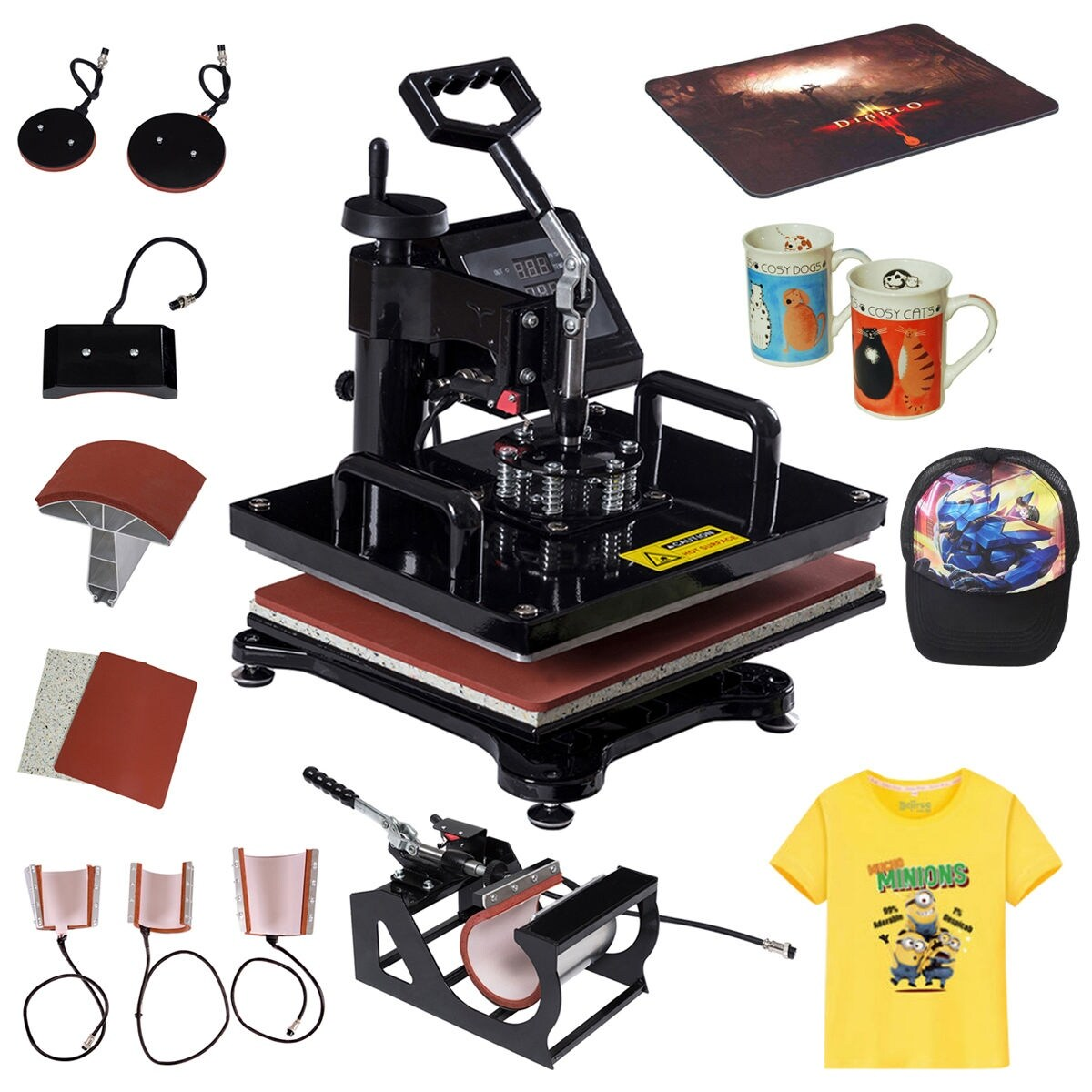 Sublimation Press Costway 8 In 1 Heat Press Machine Digital Transfer Sublimation T Shirt Mug Hat Plate Cap Black