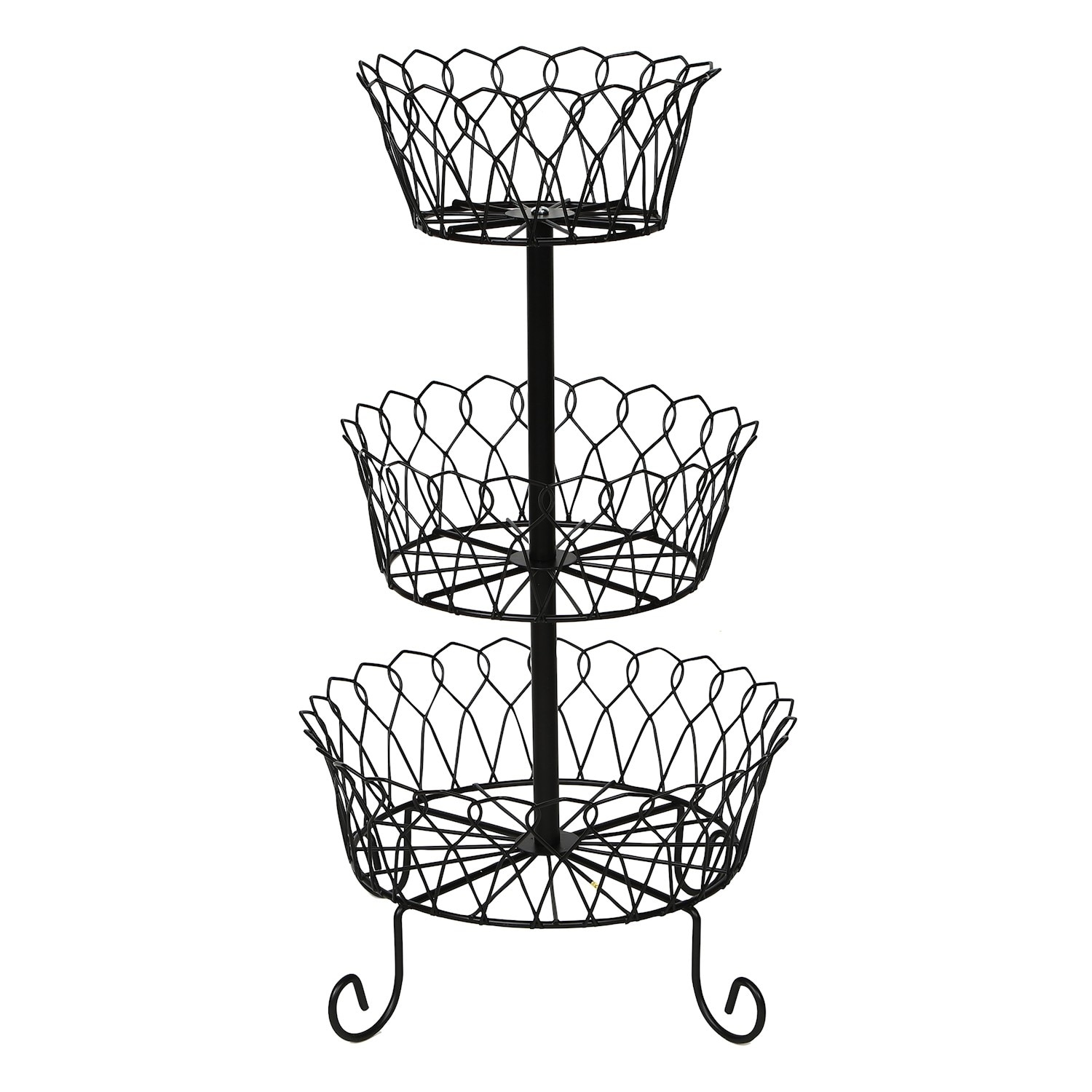 Wire Fruit Bowls Home District 3 Tier Iron Fruit Basket Stand Footed Wire Graduated Food Storage Bowls For Countertop And Dining Table Metal