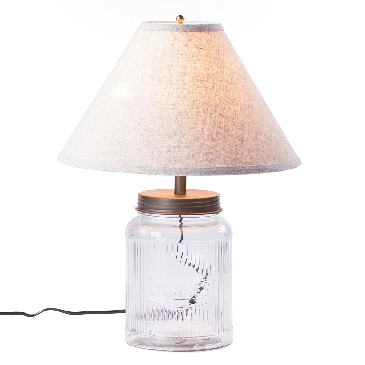 Glass Jar Lamp Shade Shop Large Ribbed Mason Jar Lamp With Shade Free Shipping Today