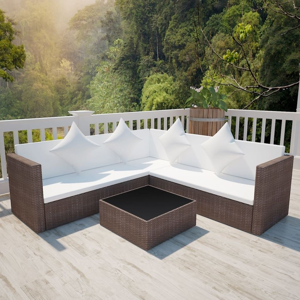 Lounge Set Polyrattan Vidaxl Outdoor Lounge Set Poly Rattan Wicker Brown Sofa Patio Sectional Couch
