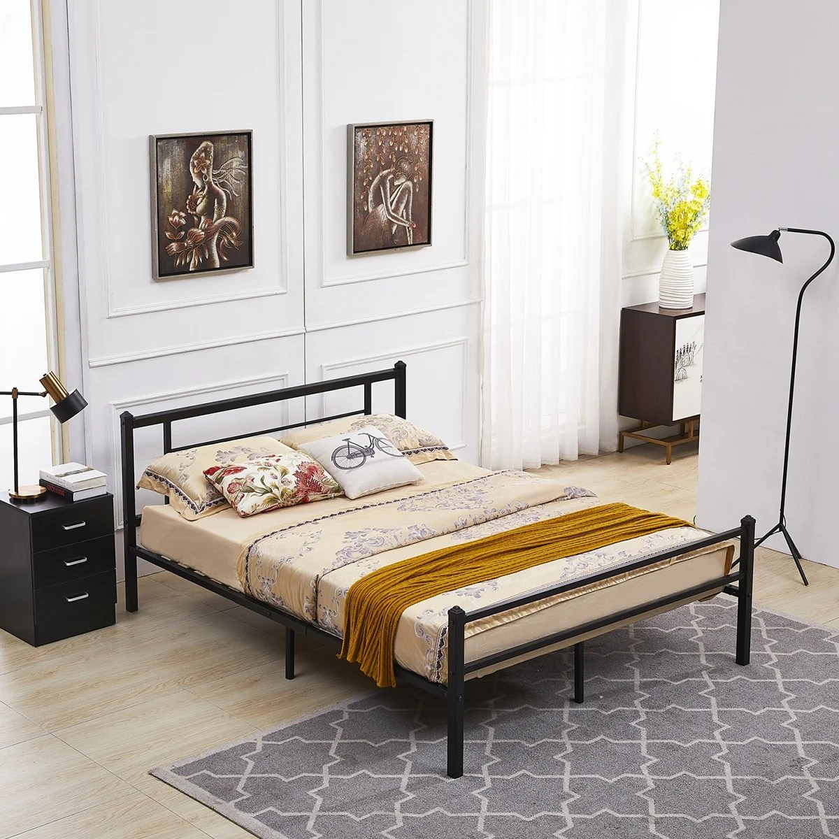 Metal Bed Headboards Metal Bed Frame With Headboard And Footboard Twin Full Queen Black