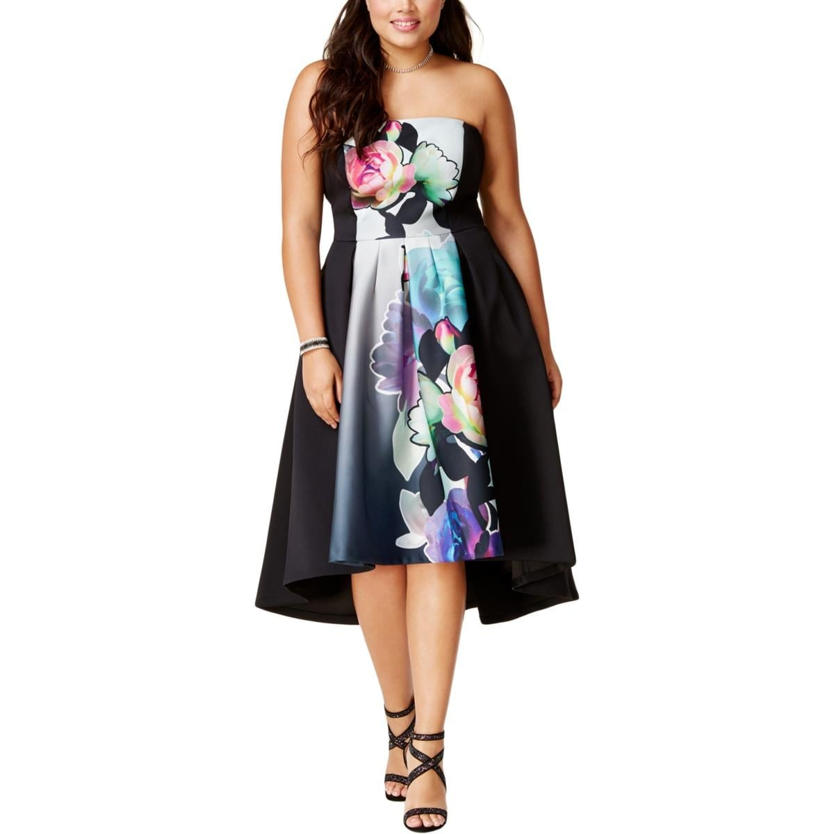 Party Chic City Chic Womens Plus Party Dress Floral Strapless