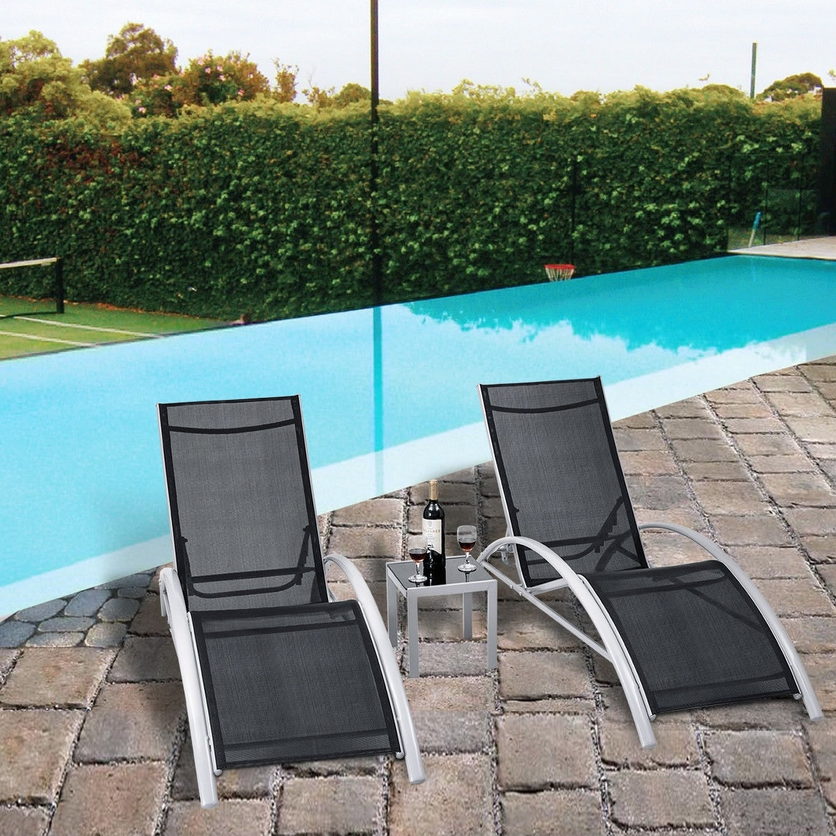 Patio Outdoor 3 Pcs Outdoor Patio Pool Lounger Set Reclining Garden Chairs Glass Table Black