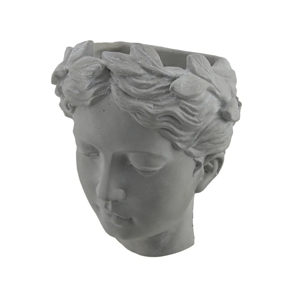 Head Planters Pair Of Classic Greek Lady Indoor Outdoor Wall Mounted Cement Head Planters