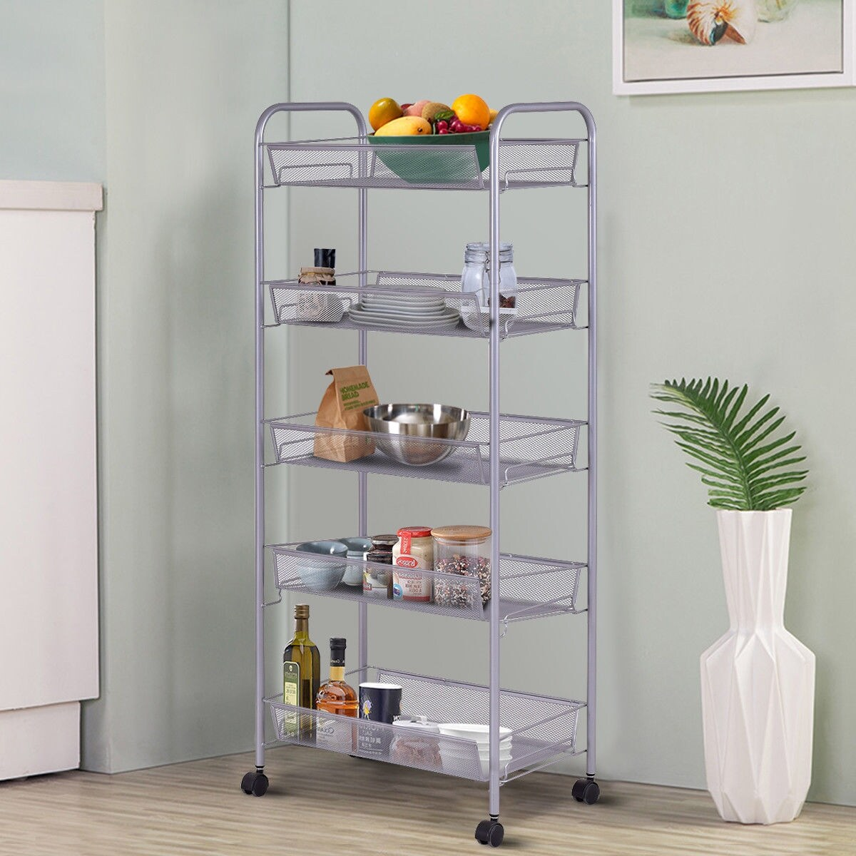 Kitchen Organizer Storage Costway 5 Tier Storage Rack Trolley Cart Home Kitchen Organizer Utility Baskets Sliver