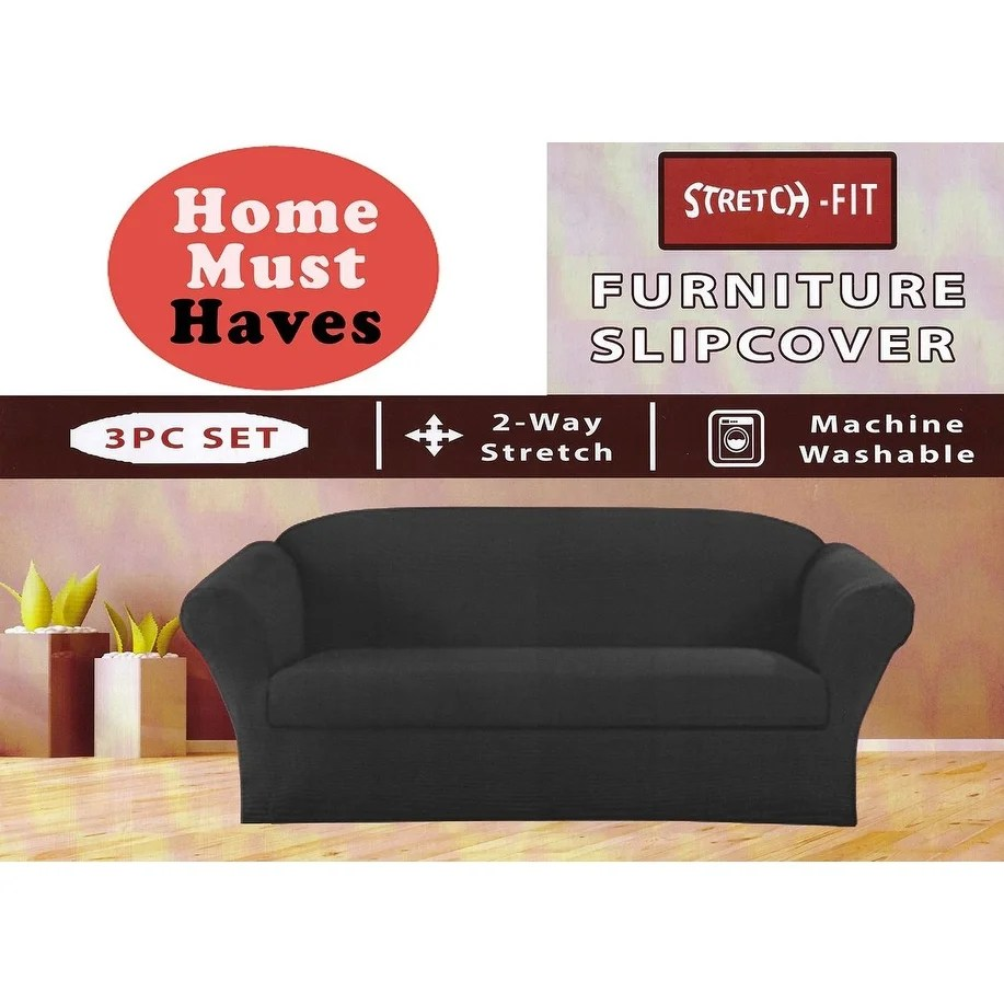 Sofa And Armchair Covers Stretch Form Fit 3 Pc Slipcovers Set Couch Sofa Loveseat Arm Chair Covers