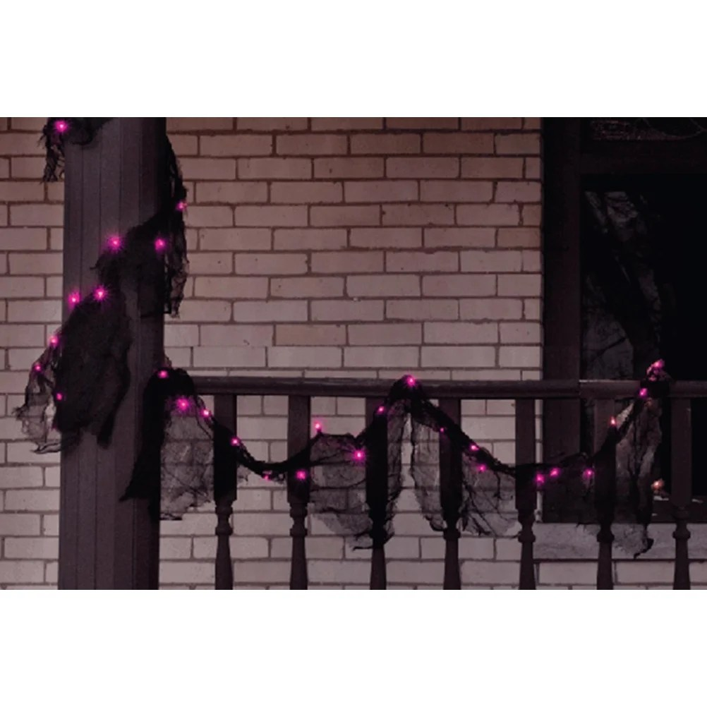 Lit Fabric 9 Pre Lit Black Gauze Fabric Novelty Halloween Garland Pink Purple Lights