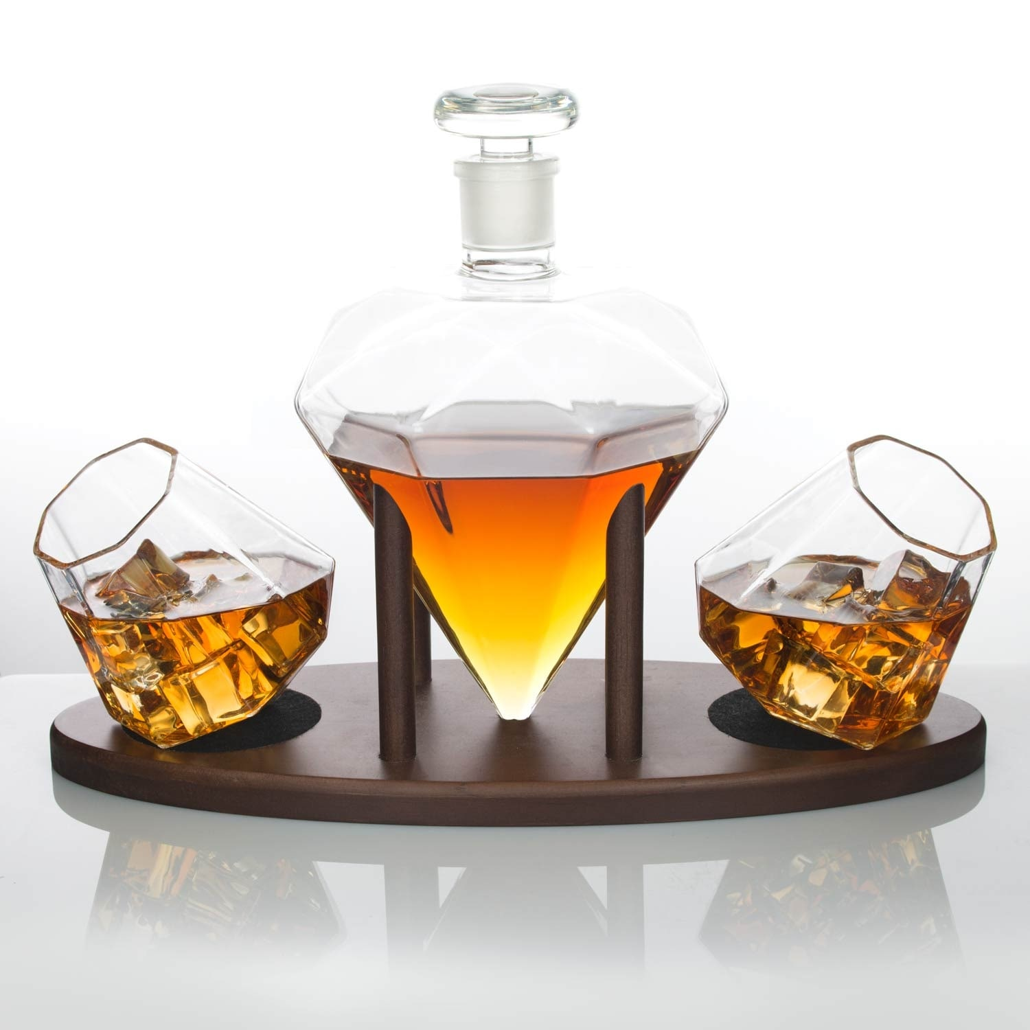 Whiskey Set Atterstone Diamond Decanter Set With Custom Mahogany Decanter Stand Whiskey Glasses And Whiskey Soap Stones