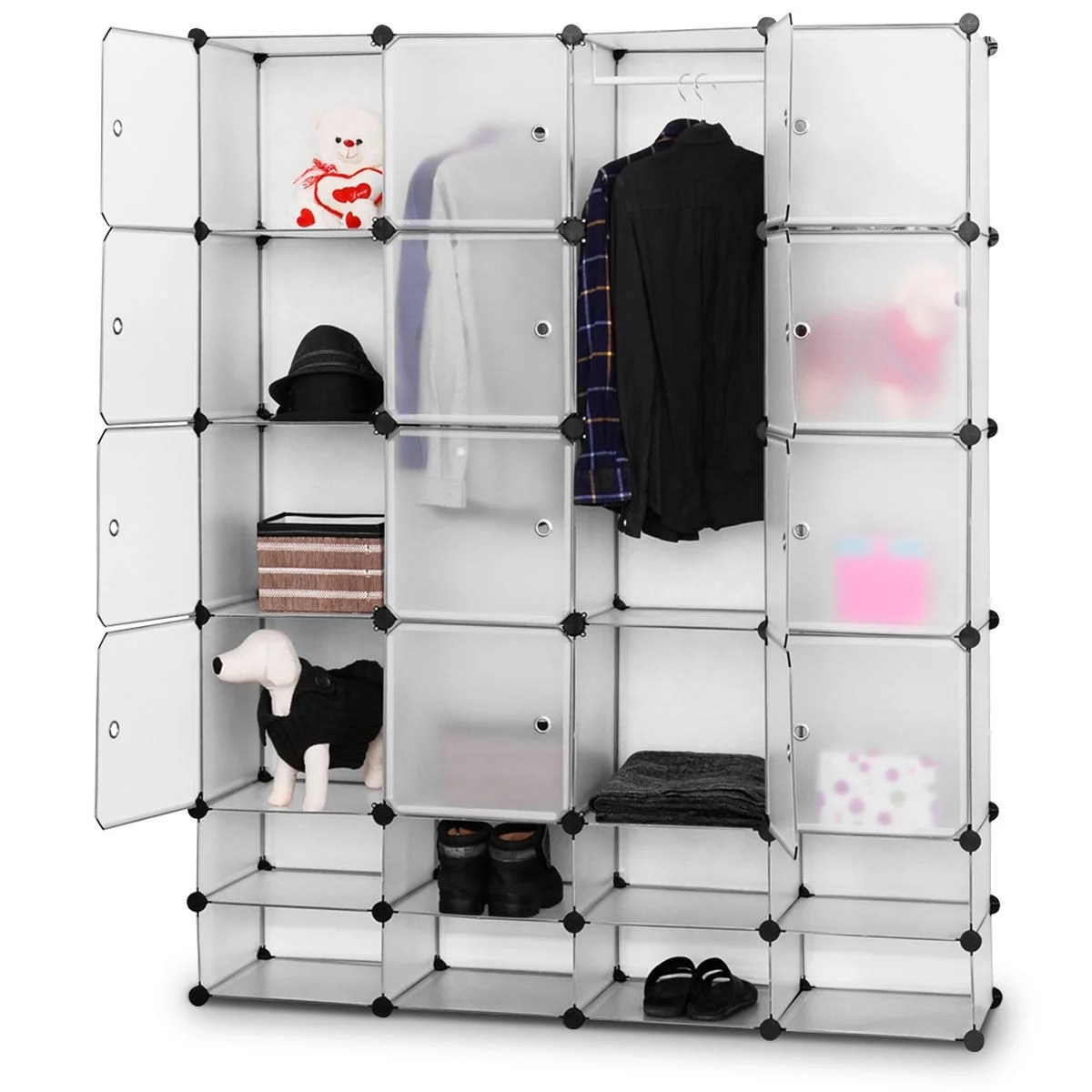 Storage Closet Costway Diy 16 8 Cube Portable Clothes Wardrobe Cabinet Closet Storage Organizer W Doors Flash Sliver