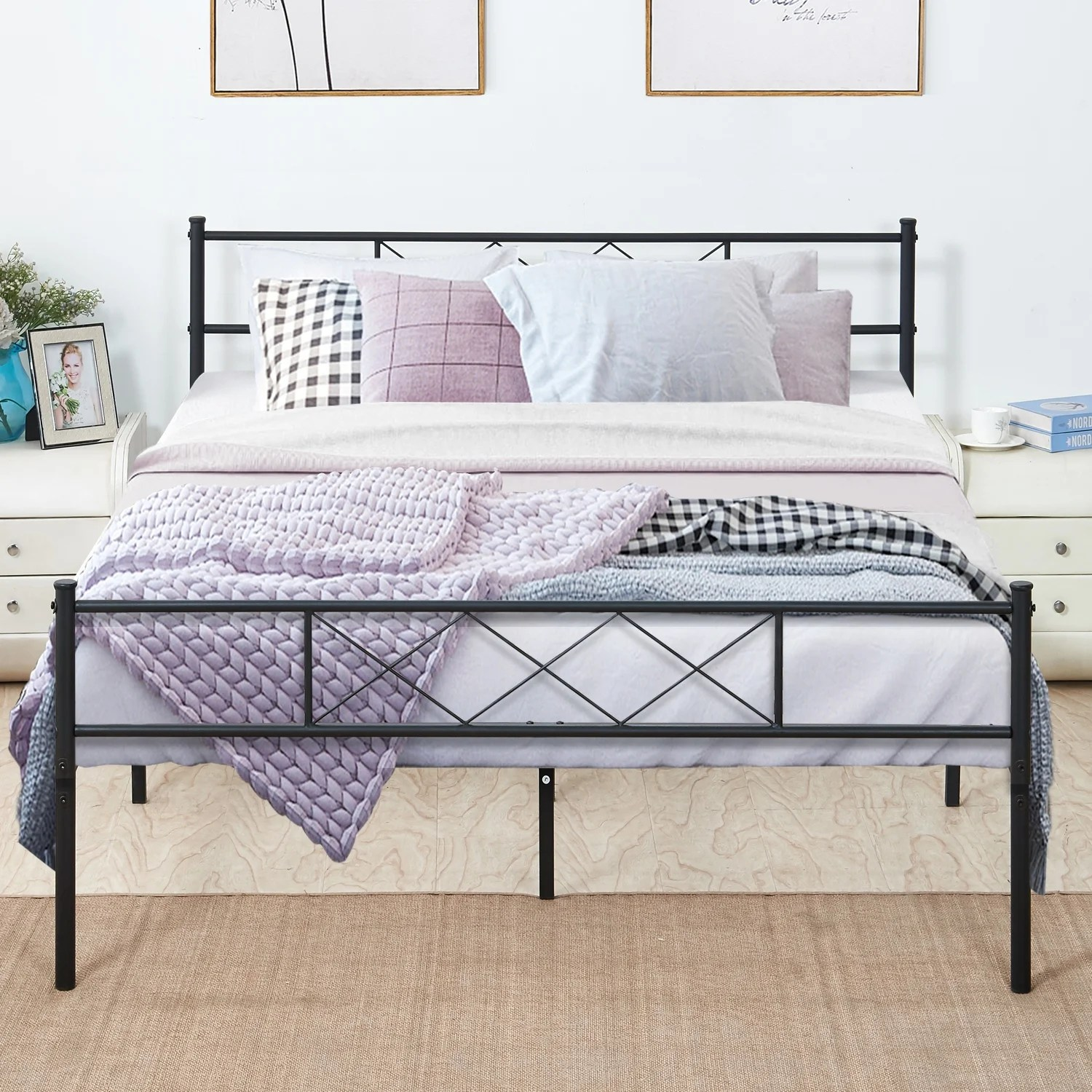Metal Bed Headboards Vecelo Metal Beds Mattress Foundation Platform Beds With Headboard And Footboard