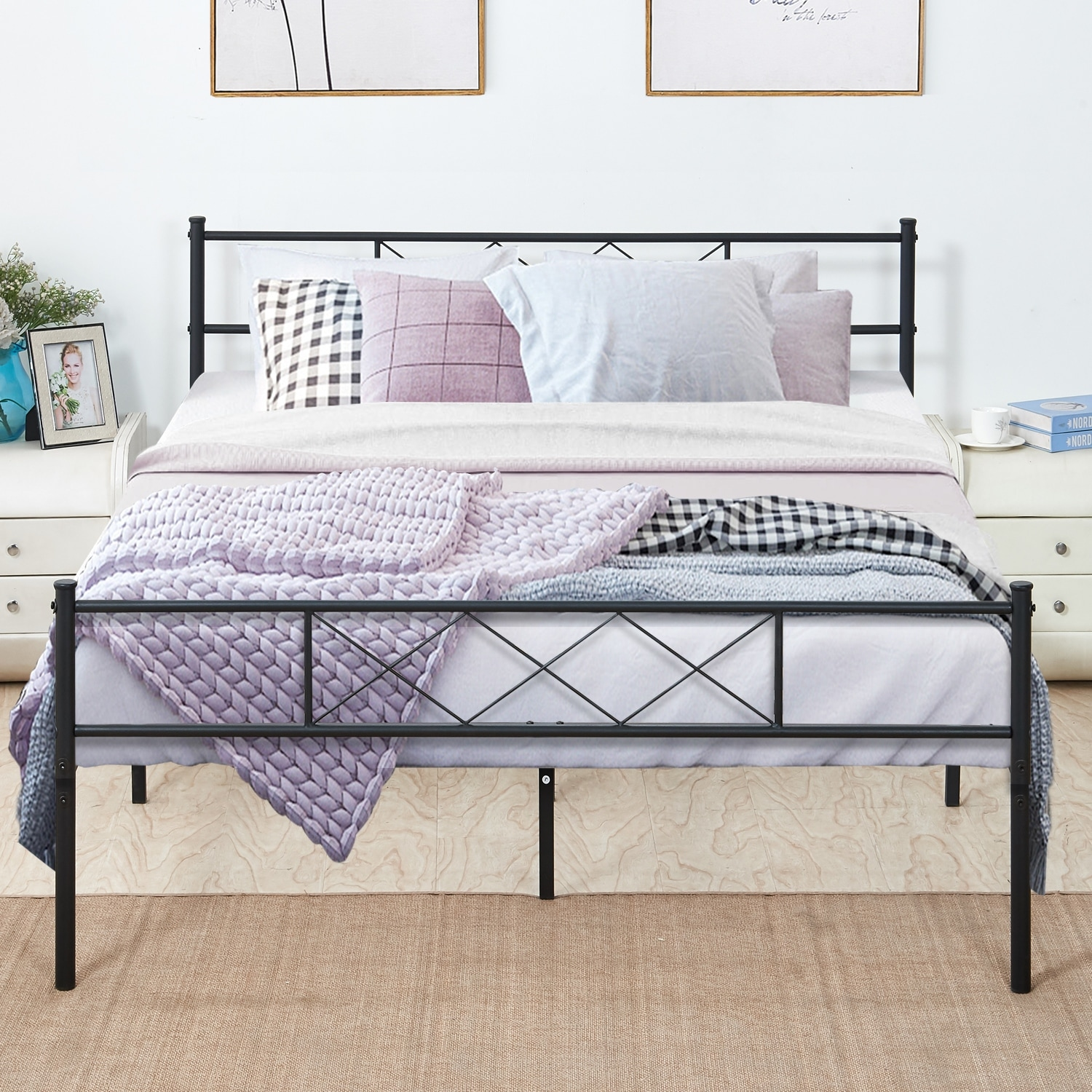 Mattress Platform Vecelo Metal Beds Mattress Foundation Platform Beds With Headboard And Footboard