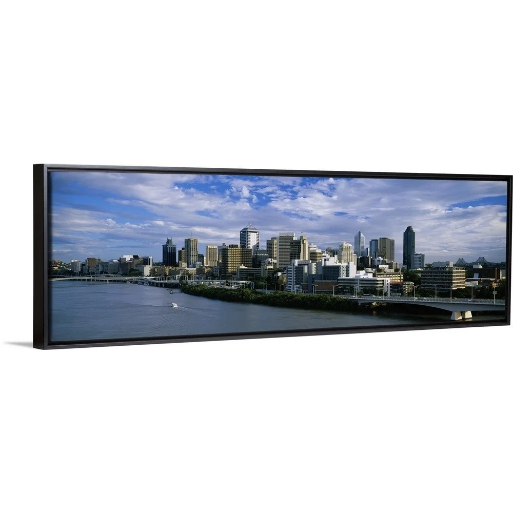 Picture Frames Australia Floating Frame Premium Canvas With Black Frame Entitled Skyscrapers In A City Brisbane Australia Multi Color