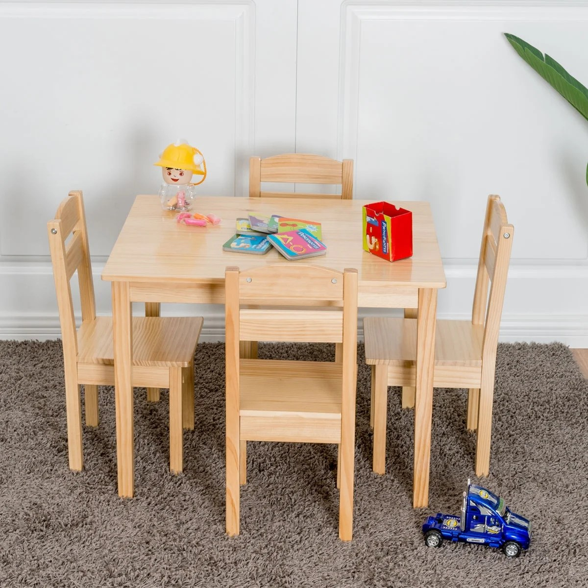 Childrens Wooden Table And Chairs Gymax Children Play Table Chair 5pcs Set Pine Wood Kids Table