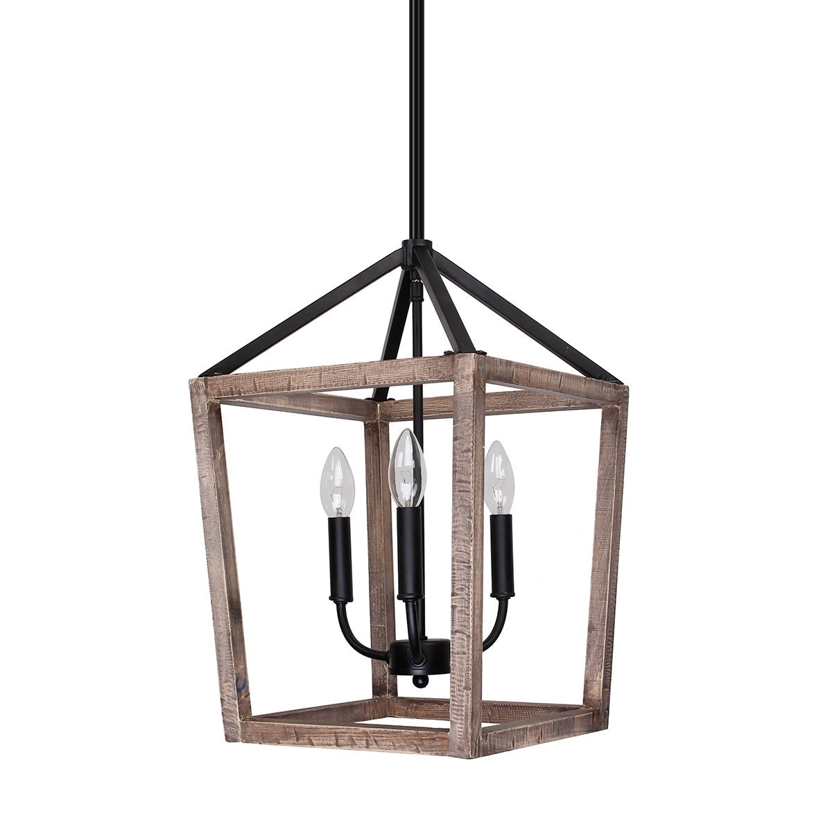 Pendant Lighting Rustic Weathered Oak Wood 3 Light Pendant Lighting Chandelier