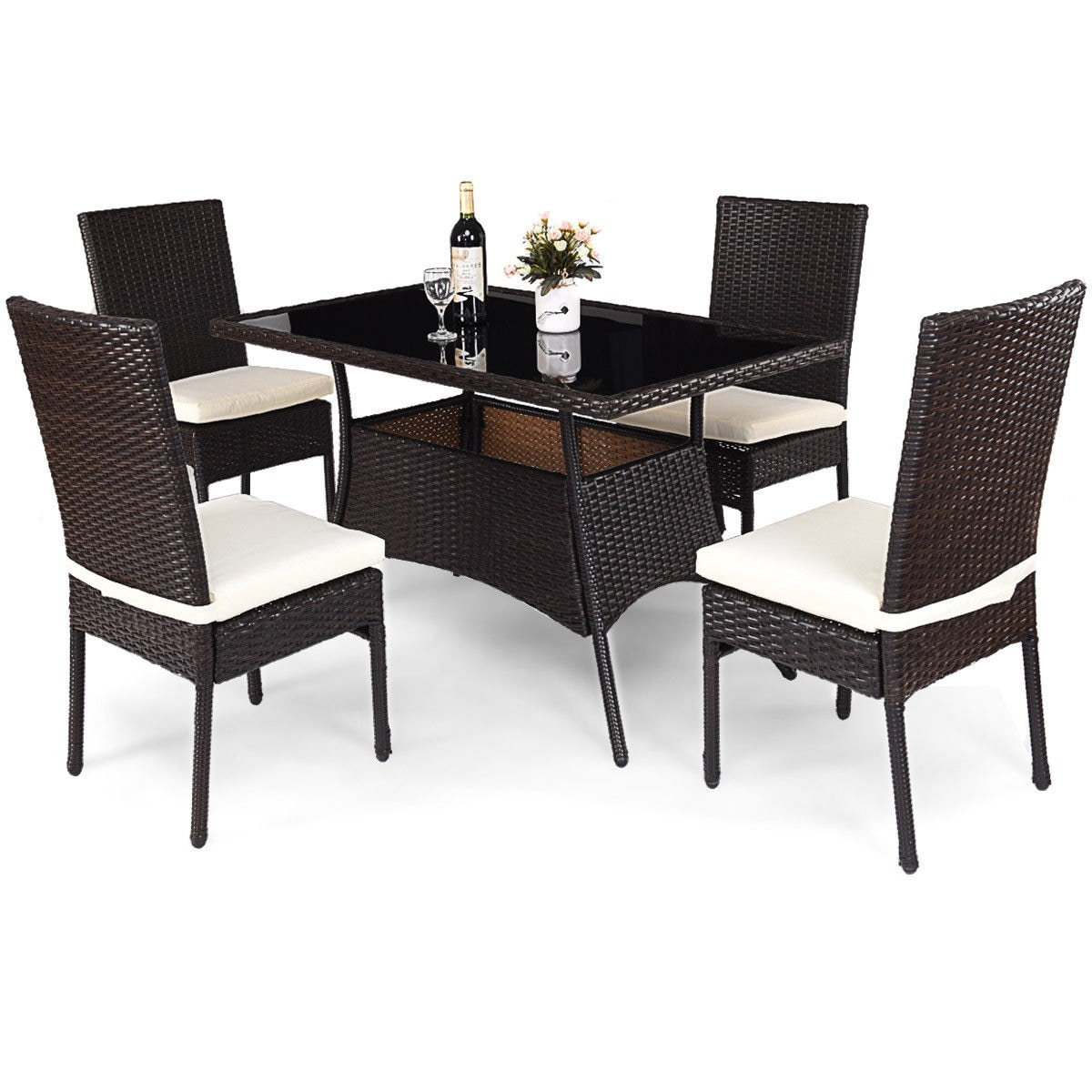 Rattan Table Costway 5 Piece Outdoor Patio Furniture Rattan Dining Table Cushioned Chairs Set Brown