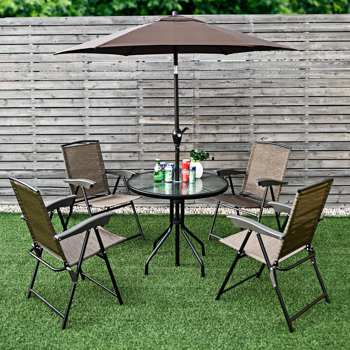 Round Table Patio Furniture Sets Costway 6pcs Patio Garden Furniture Set 4 Folding Chair Round Table Crank Tilt Umbrella As Pic 6 Pc Set