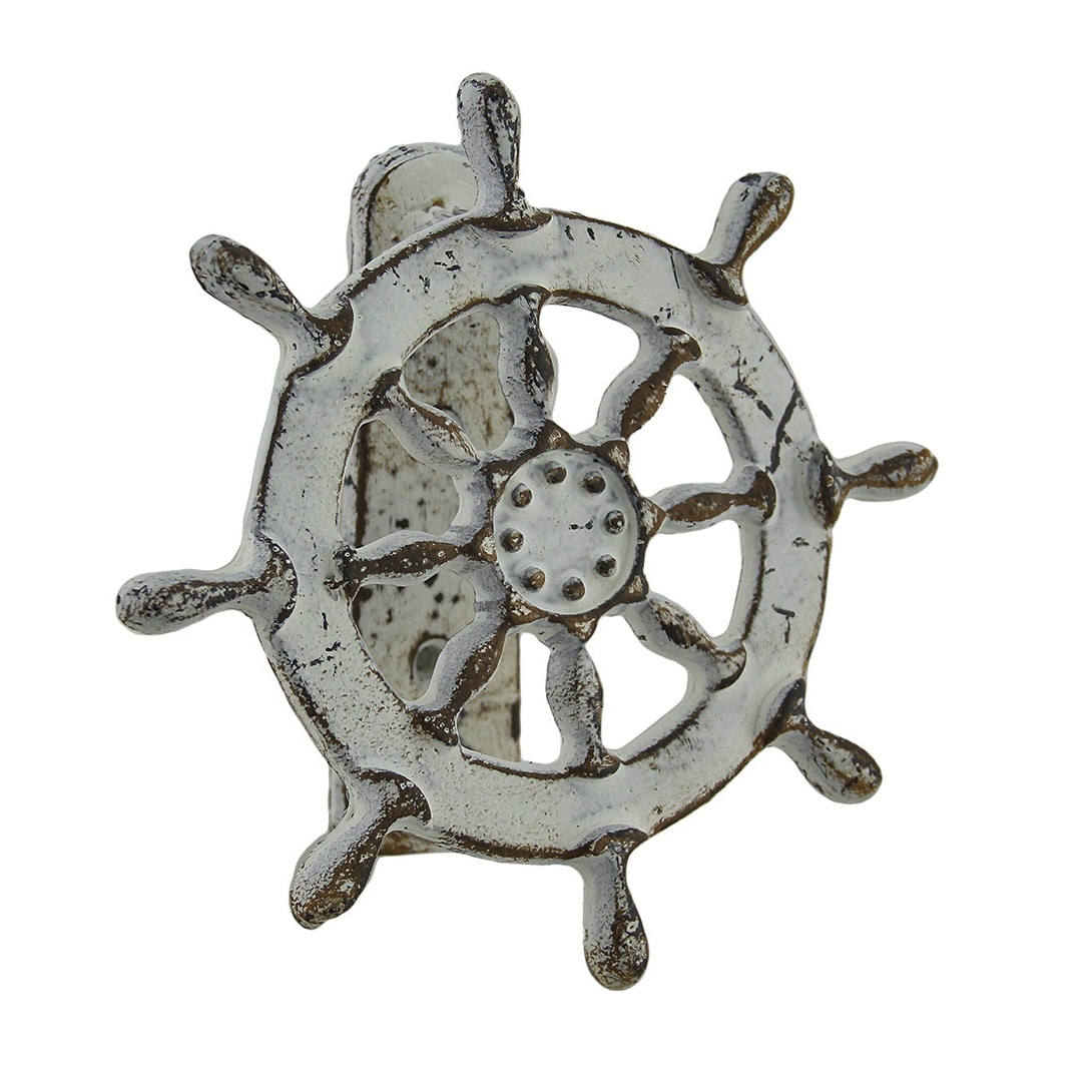 Turtle Door Knocker Weathered White Nautical Ship Wheel Cast Iron Door Knocker