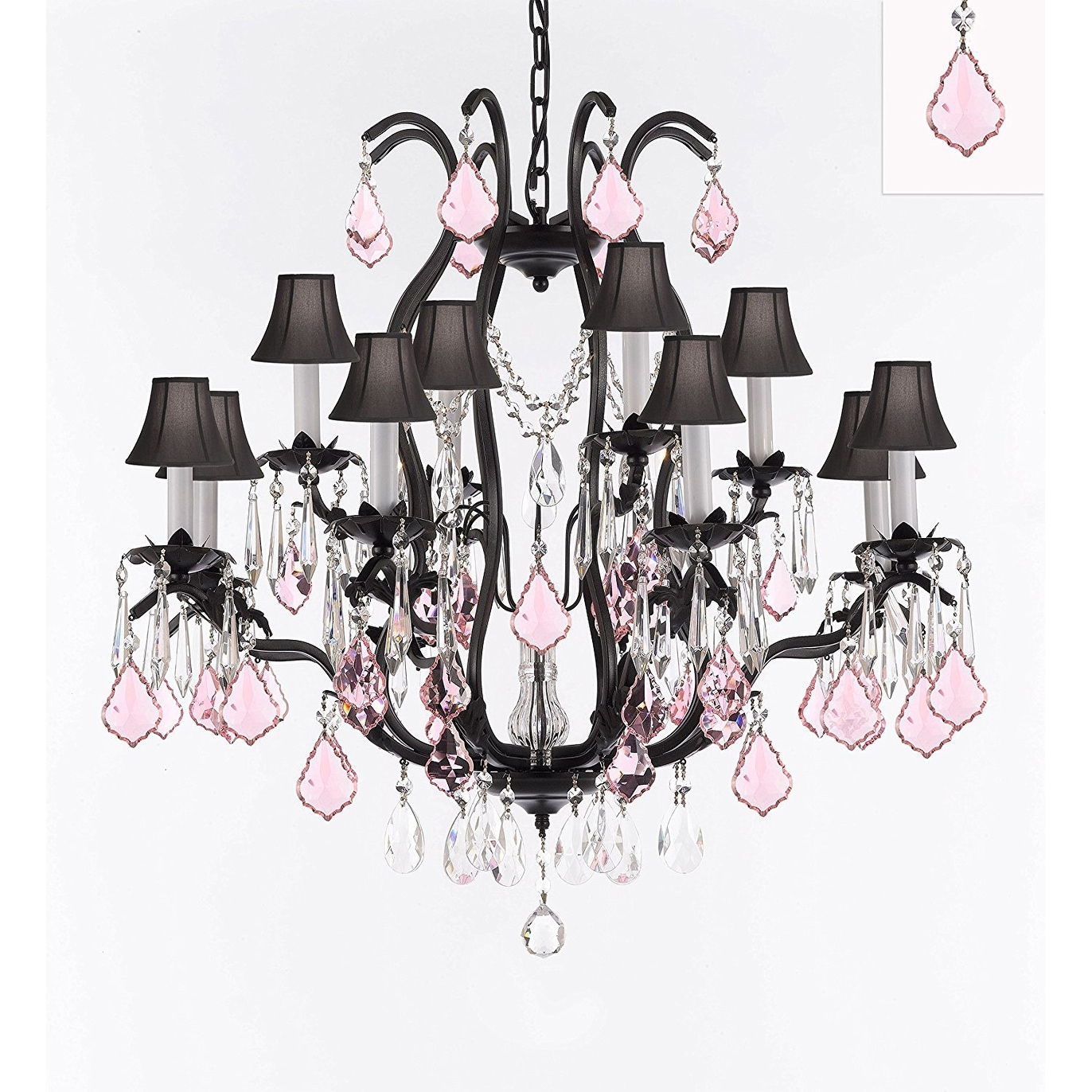 Black Wrought Iron Kitchen Light Fixtures Wrought Iron Crystal Chandelier With Pink Crystals Black Shades