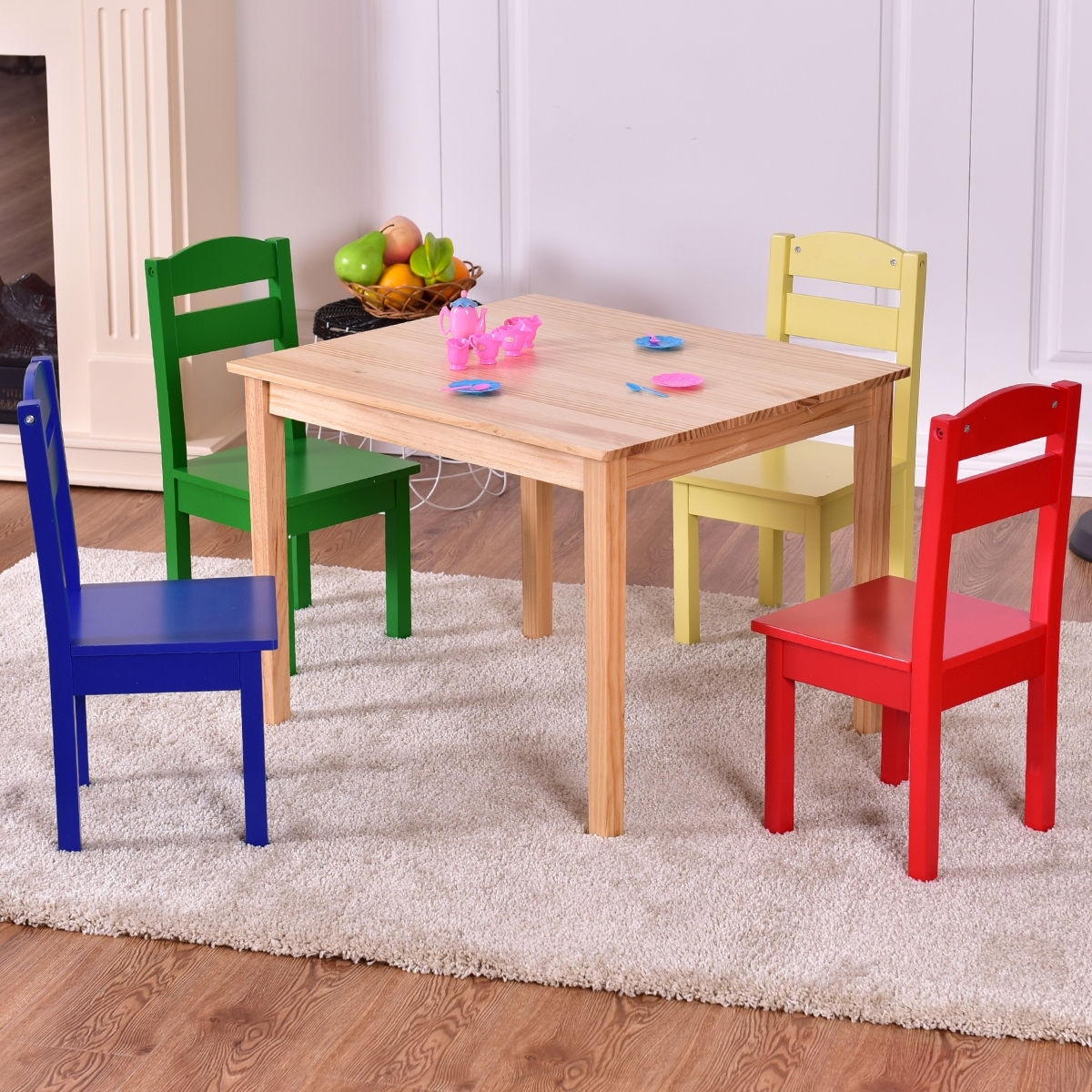 Childrens Wooden Table And Chairs Costway Kids 5 Piece Table Chair Set Pine Wood Multicolor Children Play Room Furniture