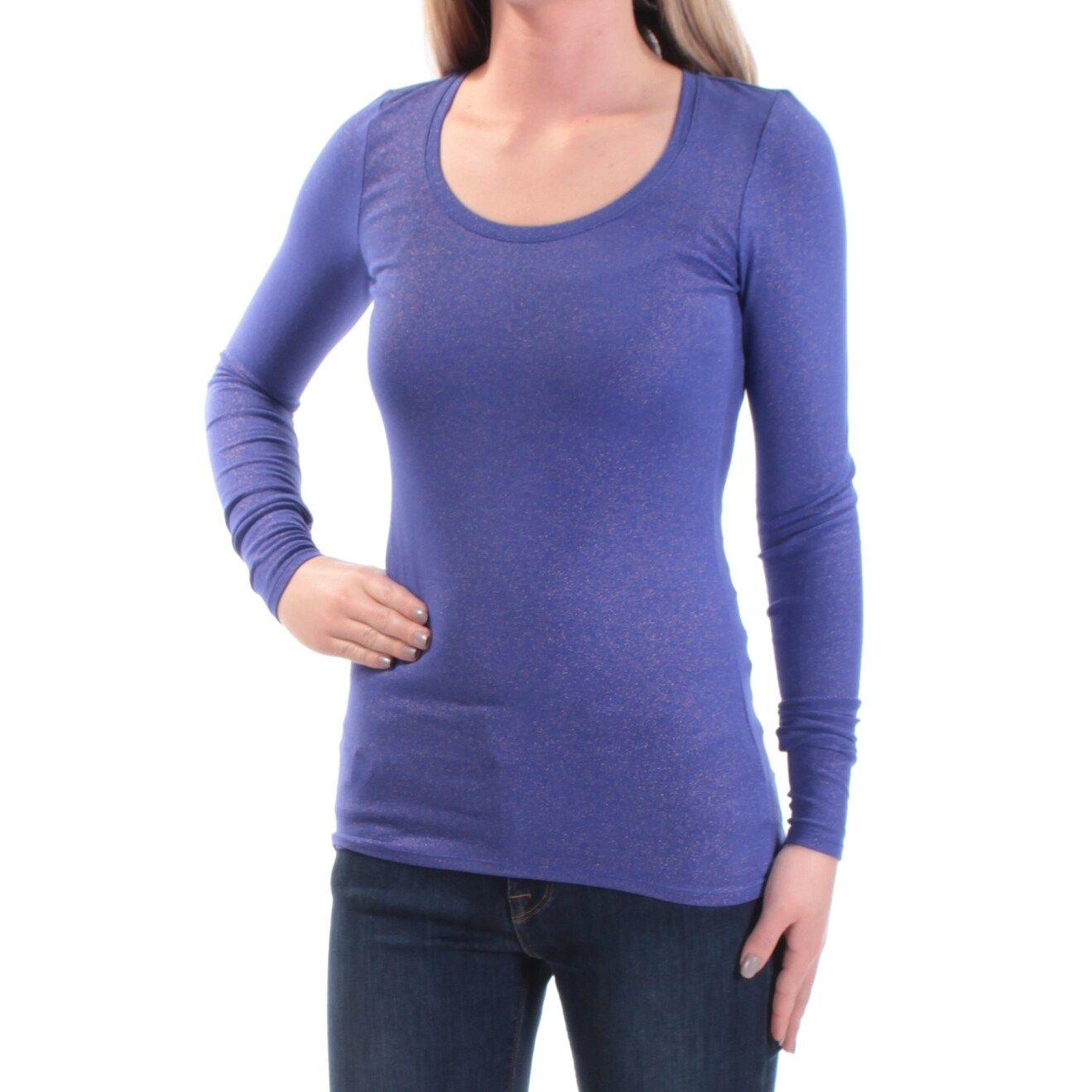 Xs Long Womens Purple Long Sleeve Scoop Neck Casual Top Size Xs