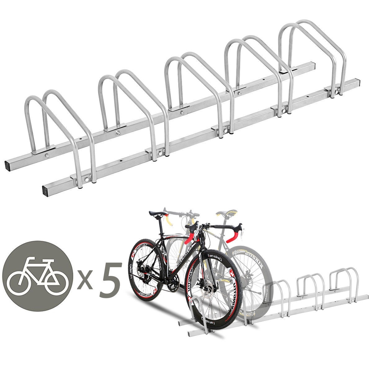 Parking Garage Bike Rack Gymax 5 Bike Bicycle Stand Parking Garage Storage Cycling Rack Silver