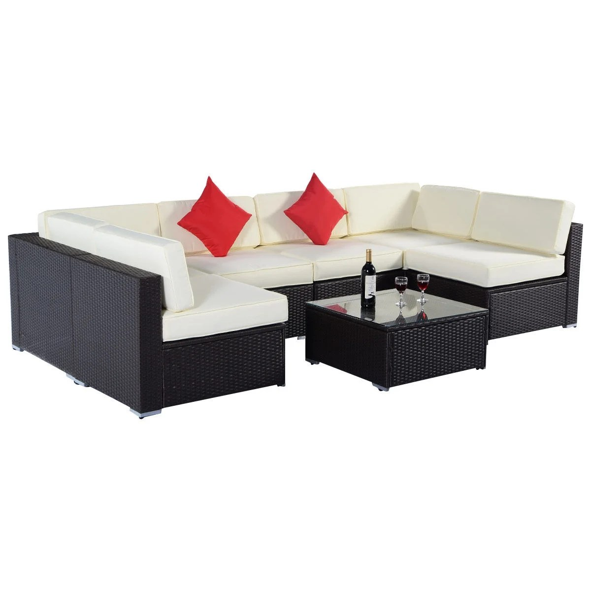 Rattan Sofa Near Me Costway 7pc Furniture Sectional Pe Wicker Patio Rattan Sofa Set Couch Brown As Pic