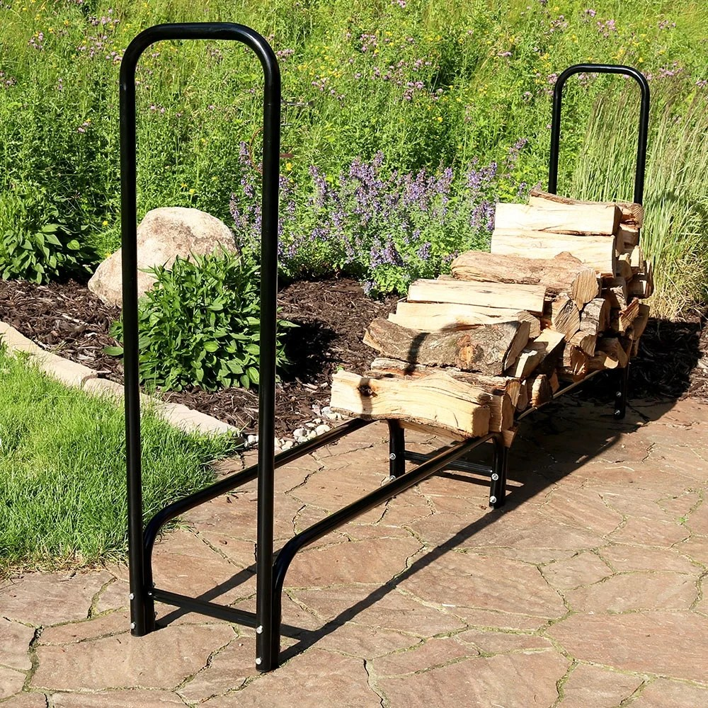 Outdoor Firewood Rack Sunnydaze Black Outdoor Firewood Stacker Storage Holder Log Rack 8 Foot