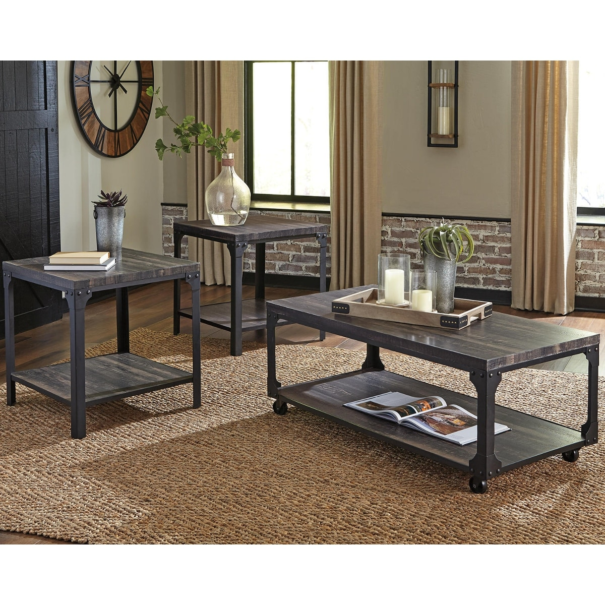 Jandoree Brown Black Casual 3 Piece Occasional Table Set On Sale Overstock 30884322