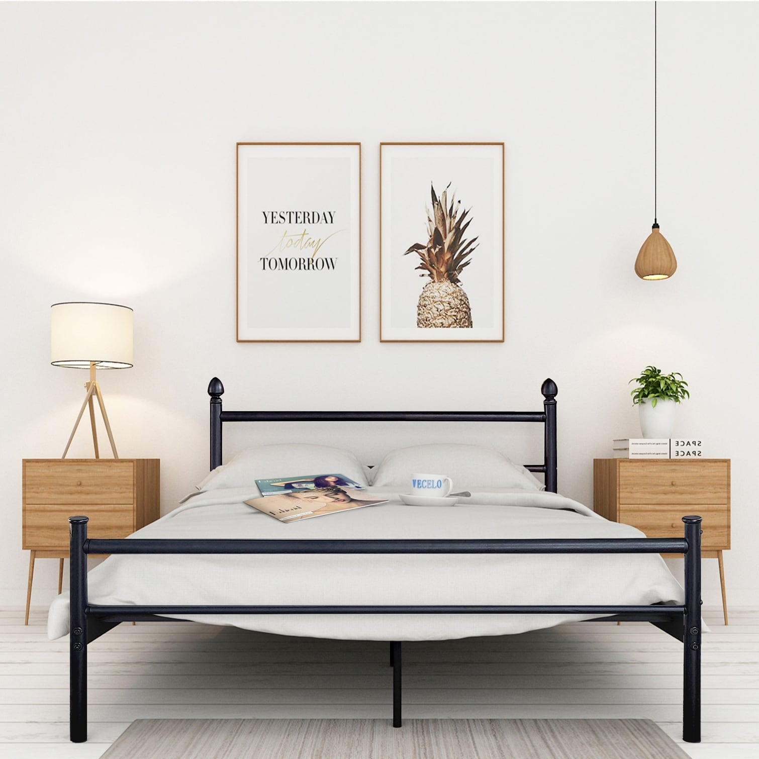 Bed Headboard Vecelo Platform Bed Frame Queen Full Twin Size Metal Beds Mattress Foundation With Headboard And Footboard