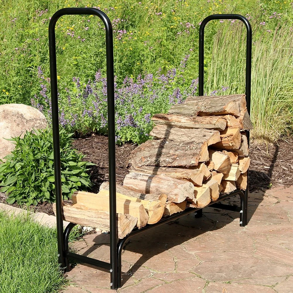 Outdoor Firewood Rack Sunnydaze Black Steel Outdoor Firewood Storage Holder Log Rack 4 Foot