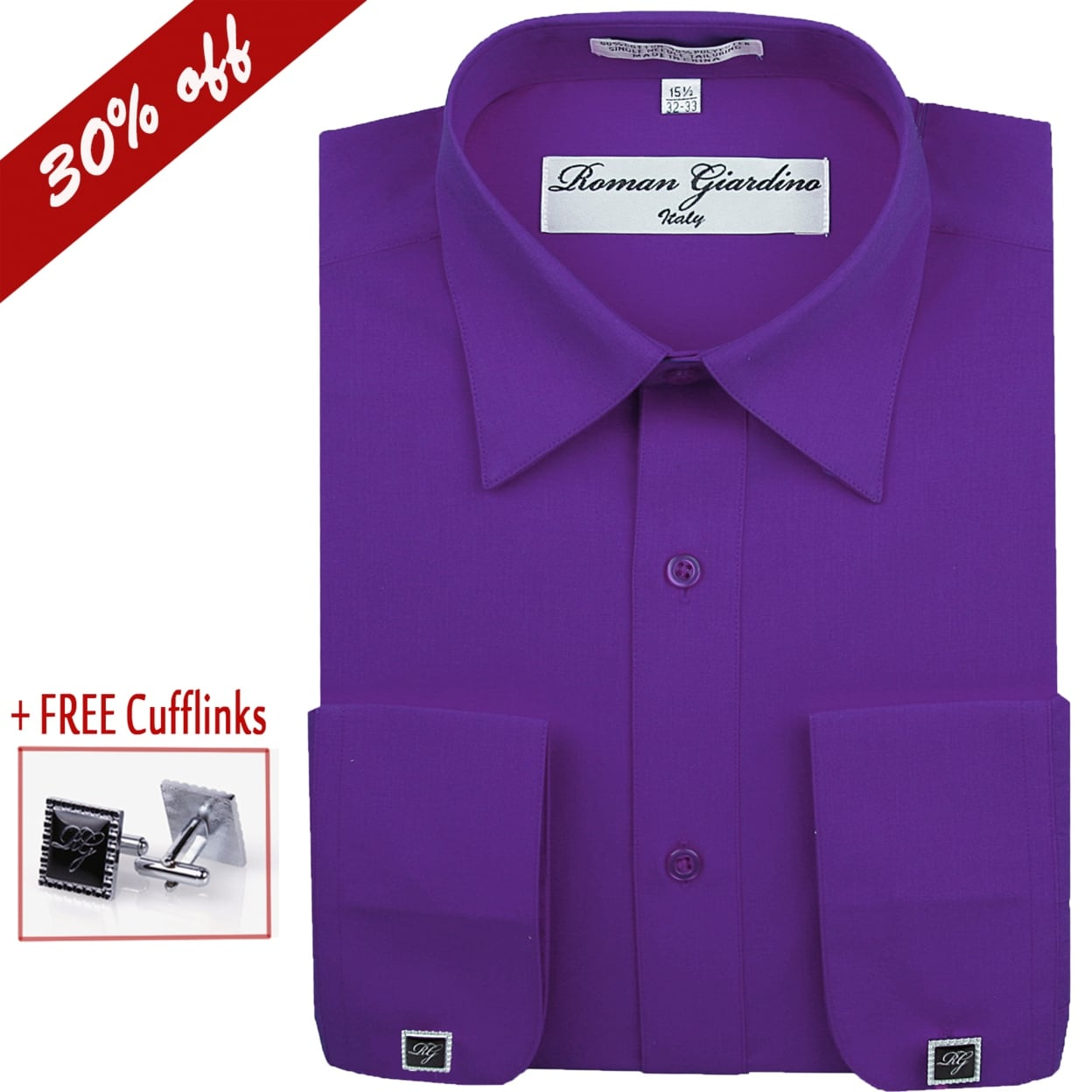 Roman Giardino Men S Dress Shirt Long Sleeve Convertible Cuffs The Italian Collar Cotton With Free Cuff Links Sugar Plum Overstock 23176389