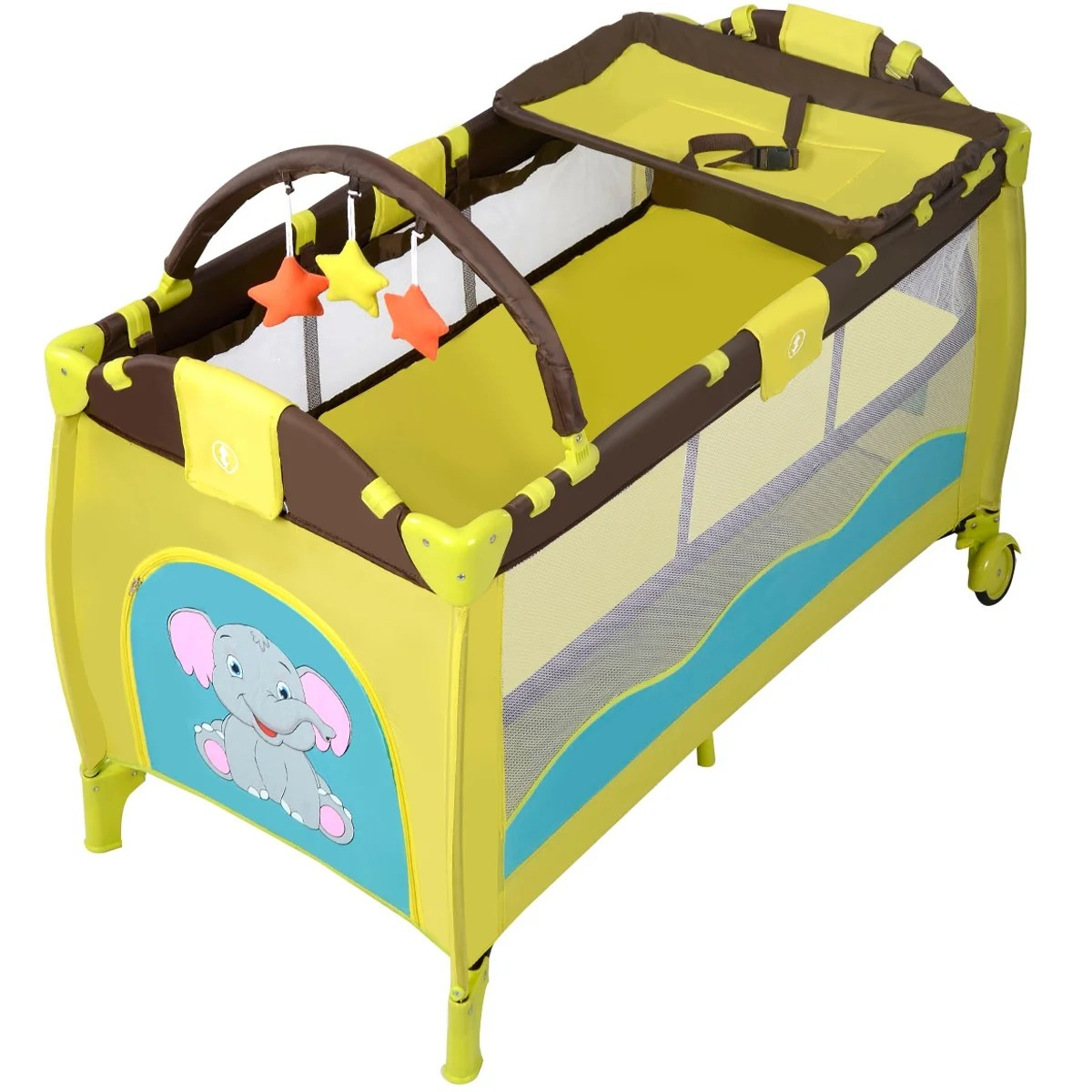 Baby Travel Mattress New Green Baby Crib Playpen Playard Pack Travel Infant Bassinet Bed Foldable