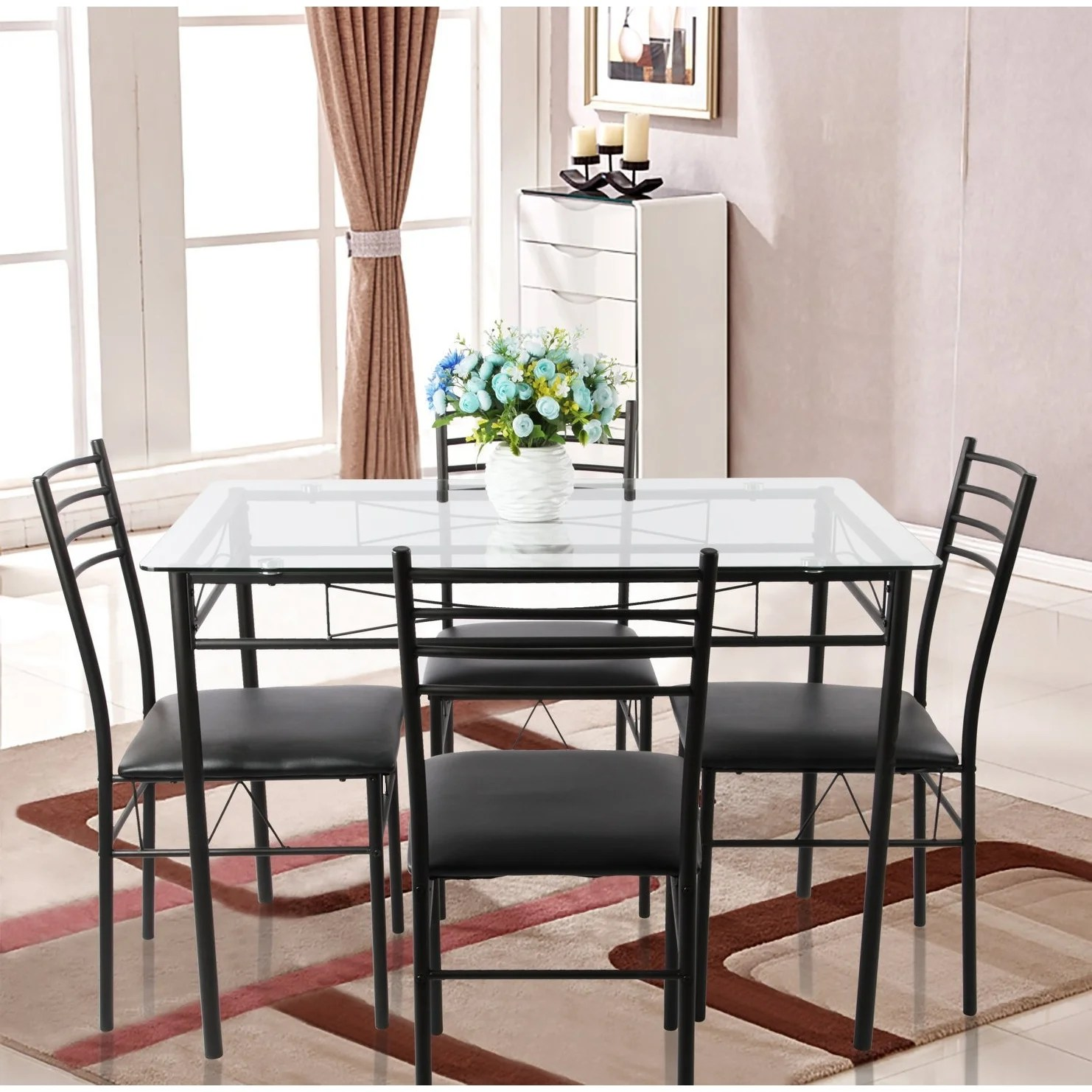 Glass Dining Table And Chairs Vecelo Glass Dining Table Sets With 4 Chairs Kitchen Table Sets