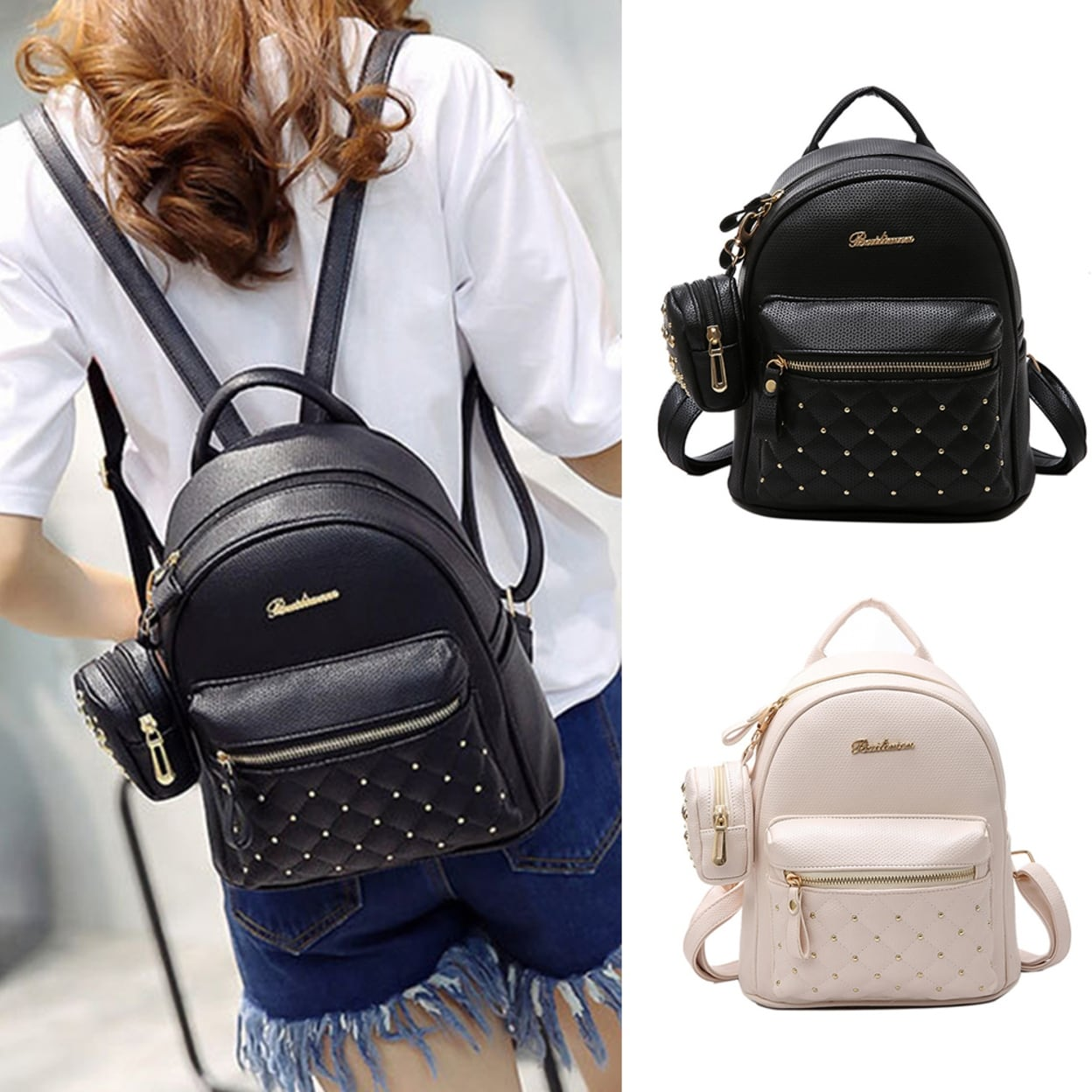 Travel Rucksack Lady Faux Leather Bag Mini Backpack For Teenagers School Travel Rucksack