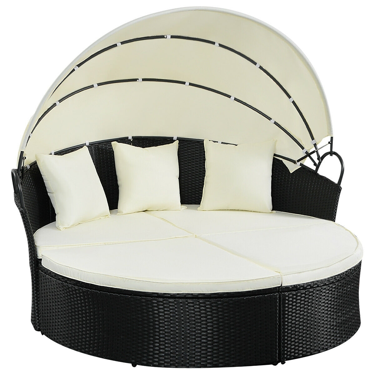 Rattan Twin Sofa Costway Outdoor Patio Sofa Furniture Round Retractable Canopy Daybed Black Wicker Rattan