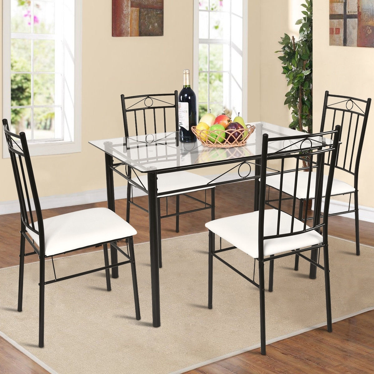 Breakfast Chairs Costway 5 Piece Dining Set Glass Metal Table And 4 Chairs Kitchen Breakfast Furniture Black